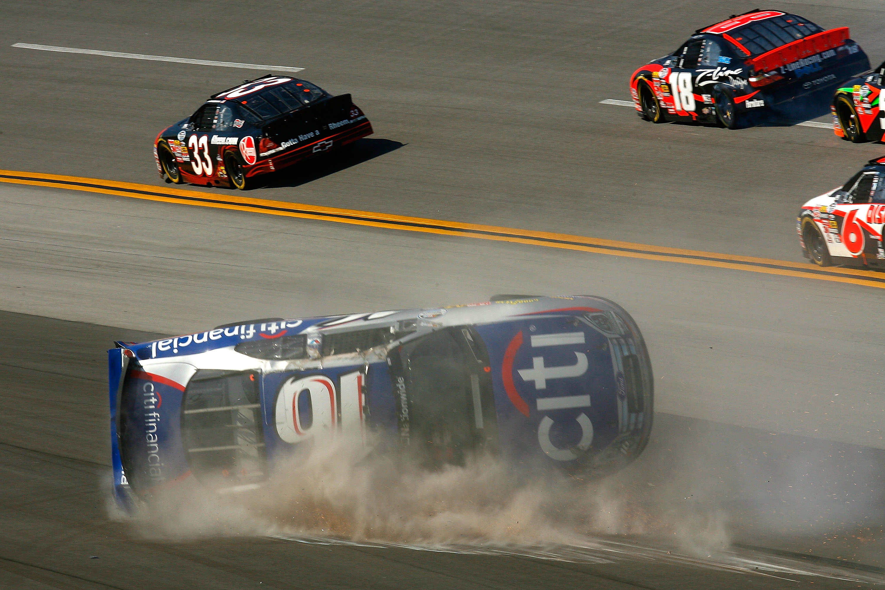 TALLADEGA, AL - APRIL 25:  Matt Kenseth, driver of the #16 CitiFinancial Ford, crashes during the NASCAR Nationwide Series Aaron's 312 at Talladega Superspeedway on April 25, 2009 in Talladega, Alabama.  (Photo by Jason Smith/Getty Images for NASCAR)