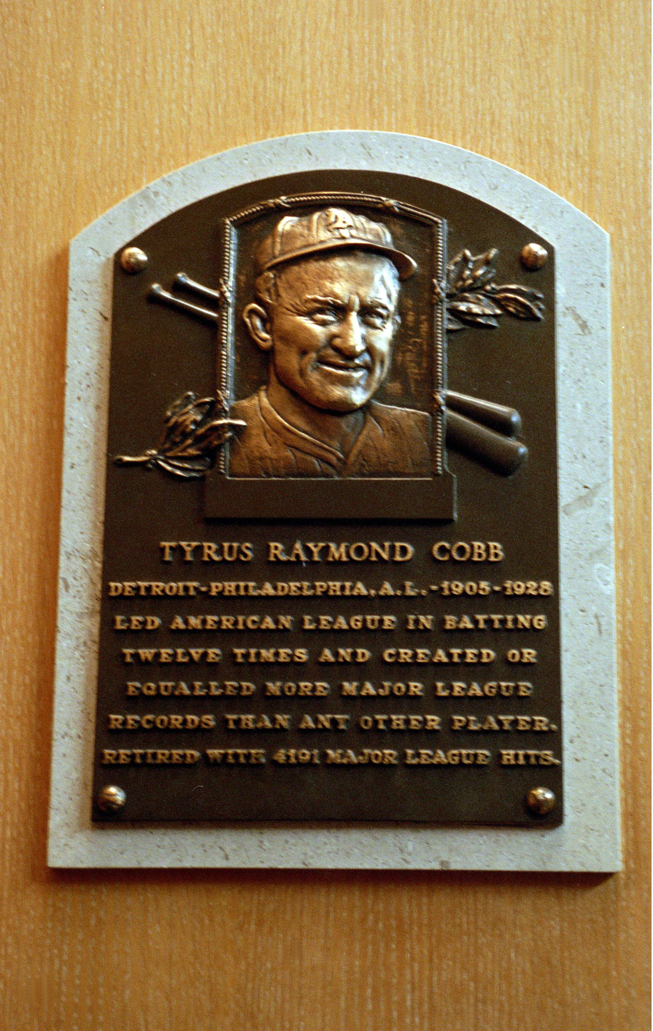 24 Jul 2000:  A general view of the plaque dedicated to Tyrus Raymond 'Ty' Cobb at the Baseball Hall of Fame in Cooperstown, New York.Mandatory Credit: Ezra O. Shaw  /Allsport