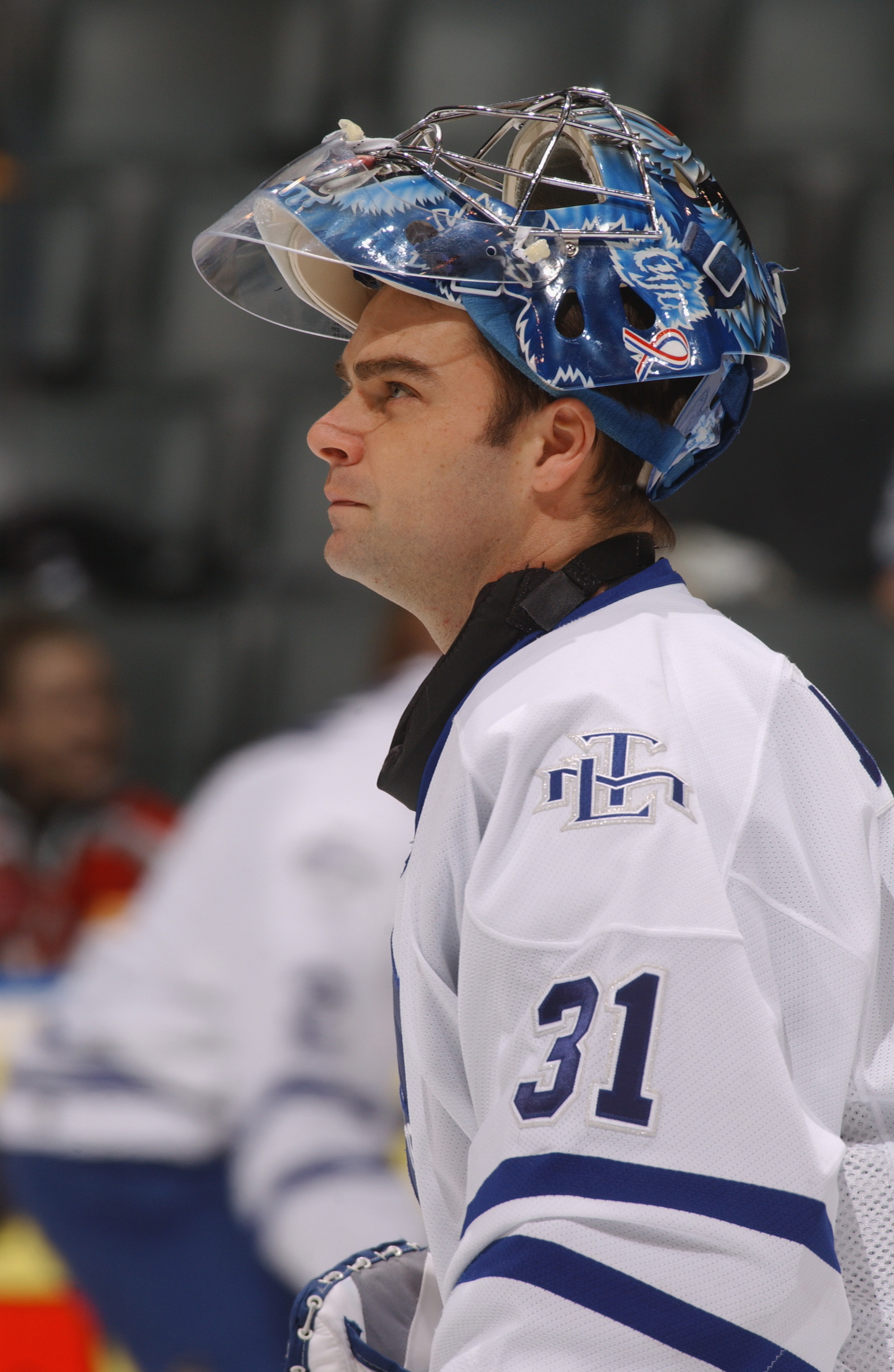 TORONTO - DECEMBER 18:  Goaltender Curtis Joseph #31 of the Toronto Maple Leafs looks on against the Los Angeles Kings during the game on December 18, 2001 at Air Canada Centre in Toronto, Ontario, Canada . The Kings won 3-1.  (Photo by Dave Sandford/Gett