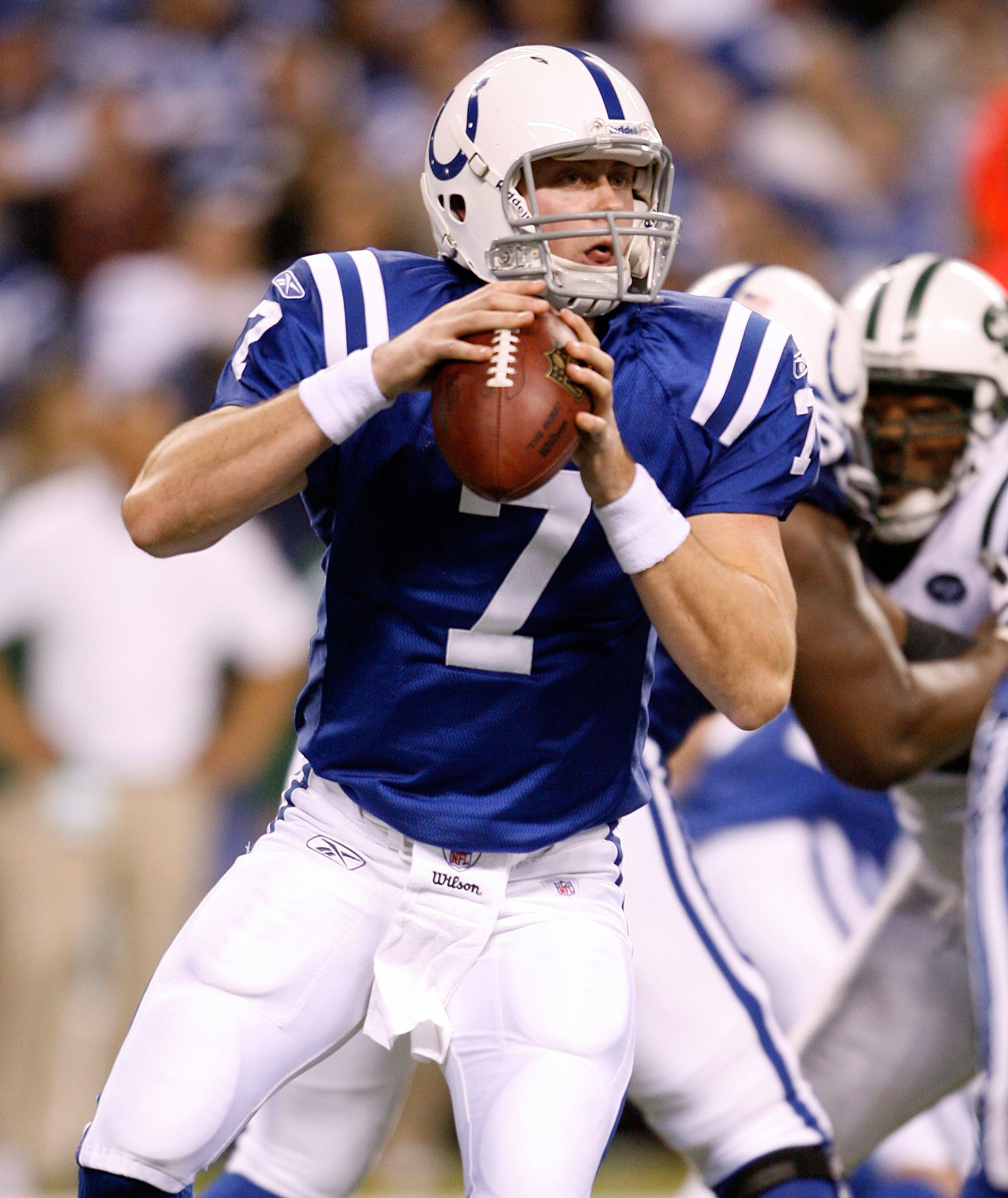 INDIANAPOLIS - DECEMBER 27:  Curtis Painter #7 of the Indianapolis Colts throws the ball during the NFL game against the New York Jets at Lucas Oil Stadium on December 27, 2009 in Indianapolis, Indiana.  (Photo by Andy Lyons/Getty Images)