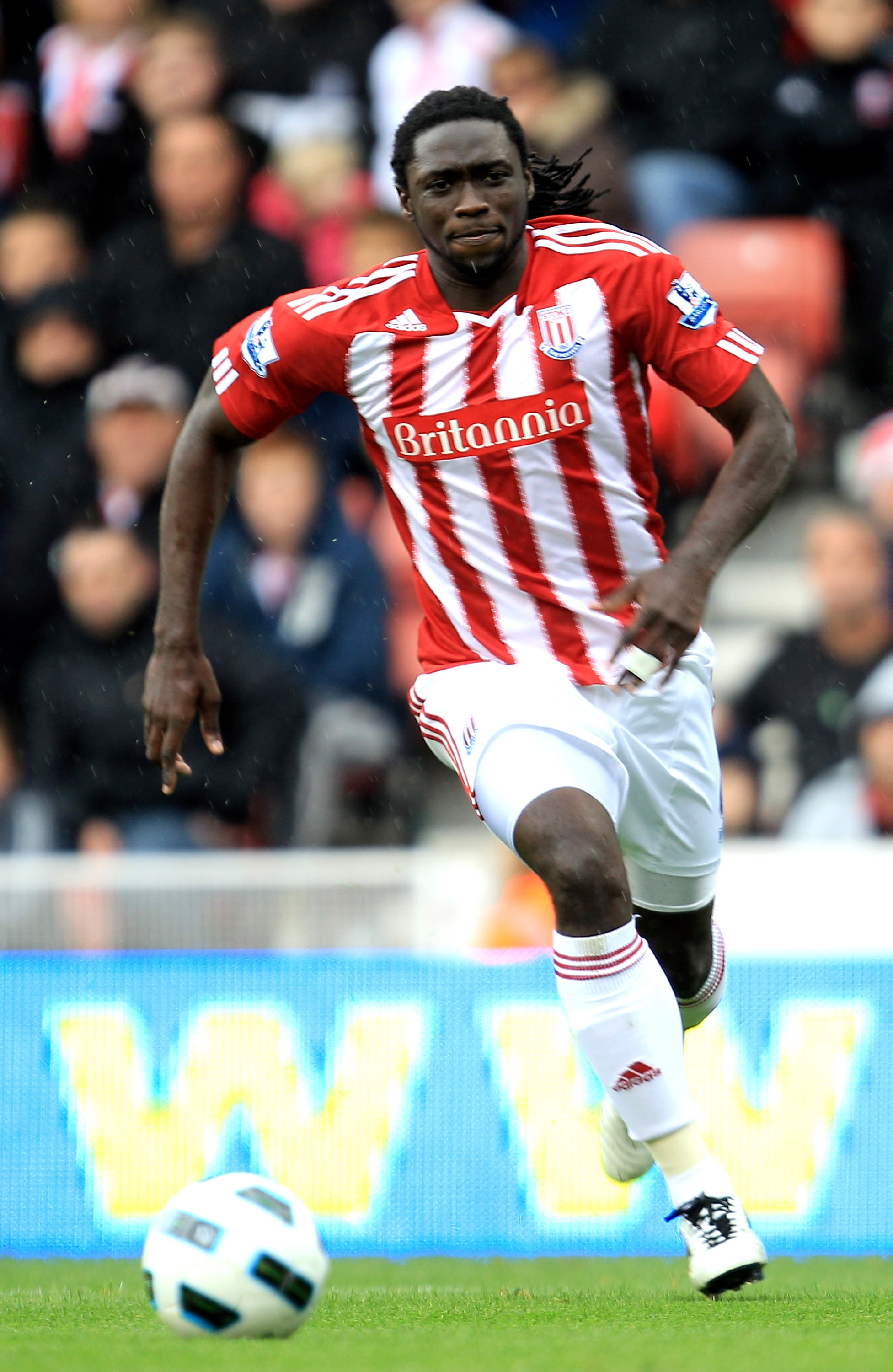 STOKE ON TRENT, ENGLAND - SEPTEMBER 18:  Kenwyne Jones of Stoke City in action during the Barclays Premier League match between Stoke City and West Ham United at the Britannia Stadium on September 18, 2010 in Stoke on Trent, England.  (Photo by Mark Thomp