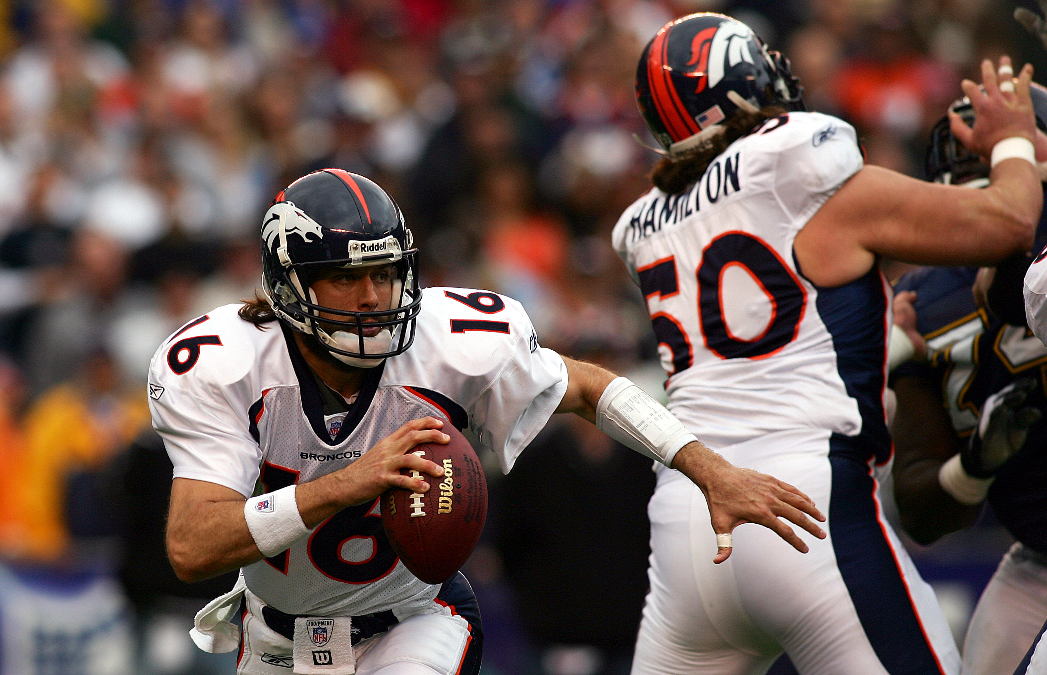 SAN DIEGO - DECEMBER 31:  Quarterback Jake Plummer #16 of the Denver Broncos scrambles against the San Diego Chargers during the 1st half of their NFL Game on December 31, 2005 at Qualcomm Stadium in San Diego, California. (Photo by Donald Miralle/Getty I