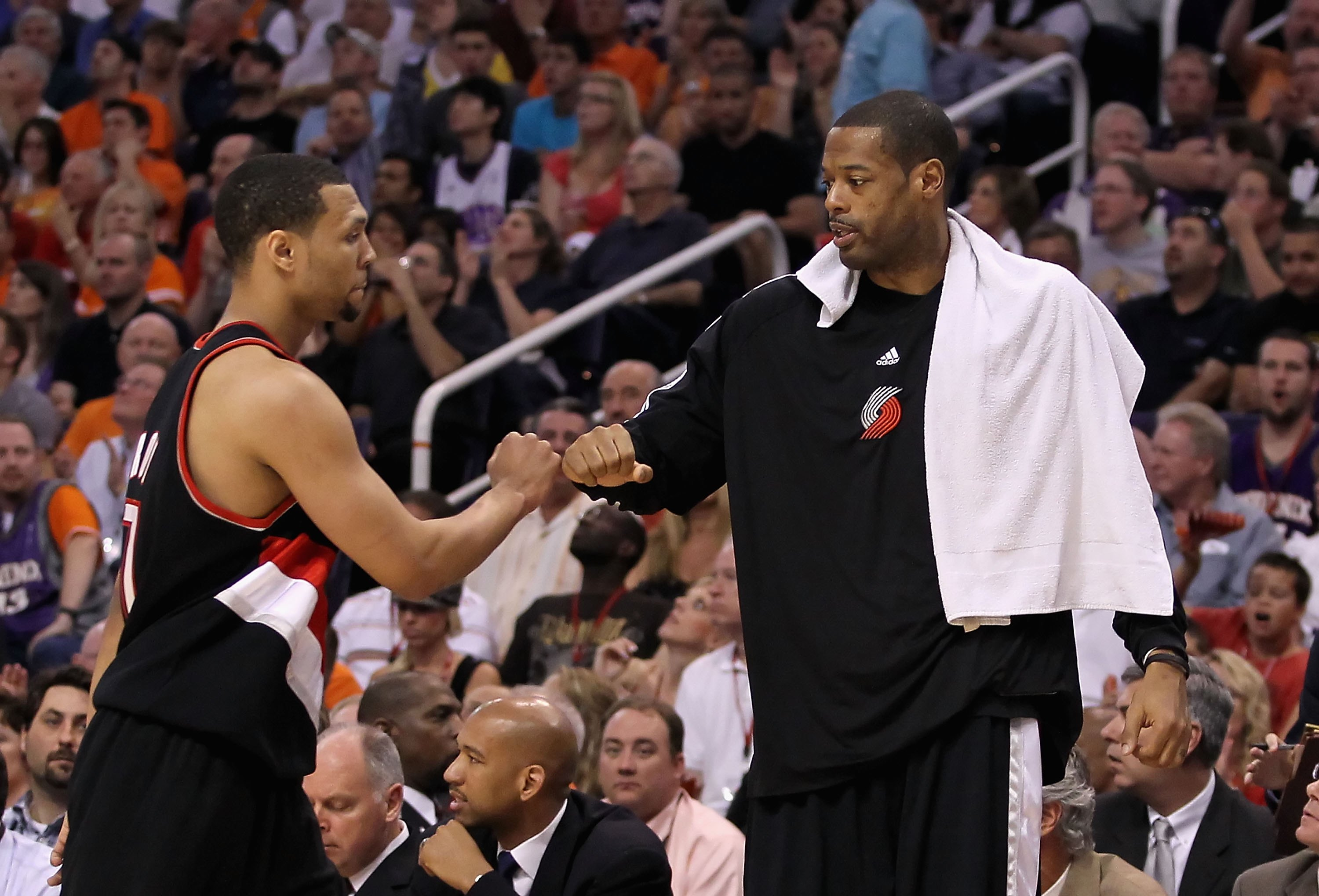 PHOENIX - APRIL 26:  Brandon Roy #7 and Marcus Camby of the Portland Trail Blazers during Game Five of the Western Conference Quarterfinals of the 2010 NBA Playoffs against the Phoenix Suns at US Airways Center on April 26, 2010 in Phoenix, Arizona. The S