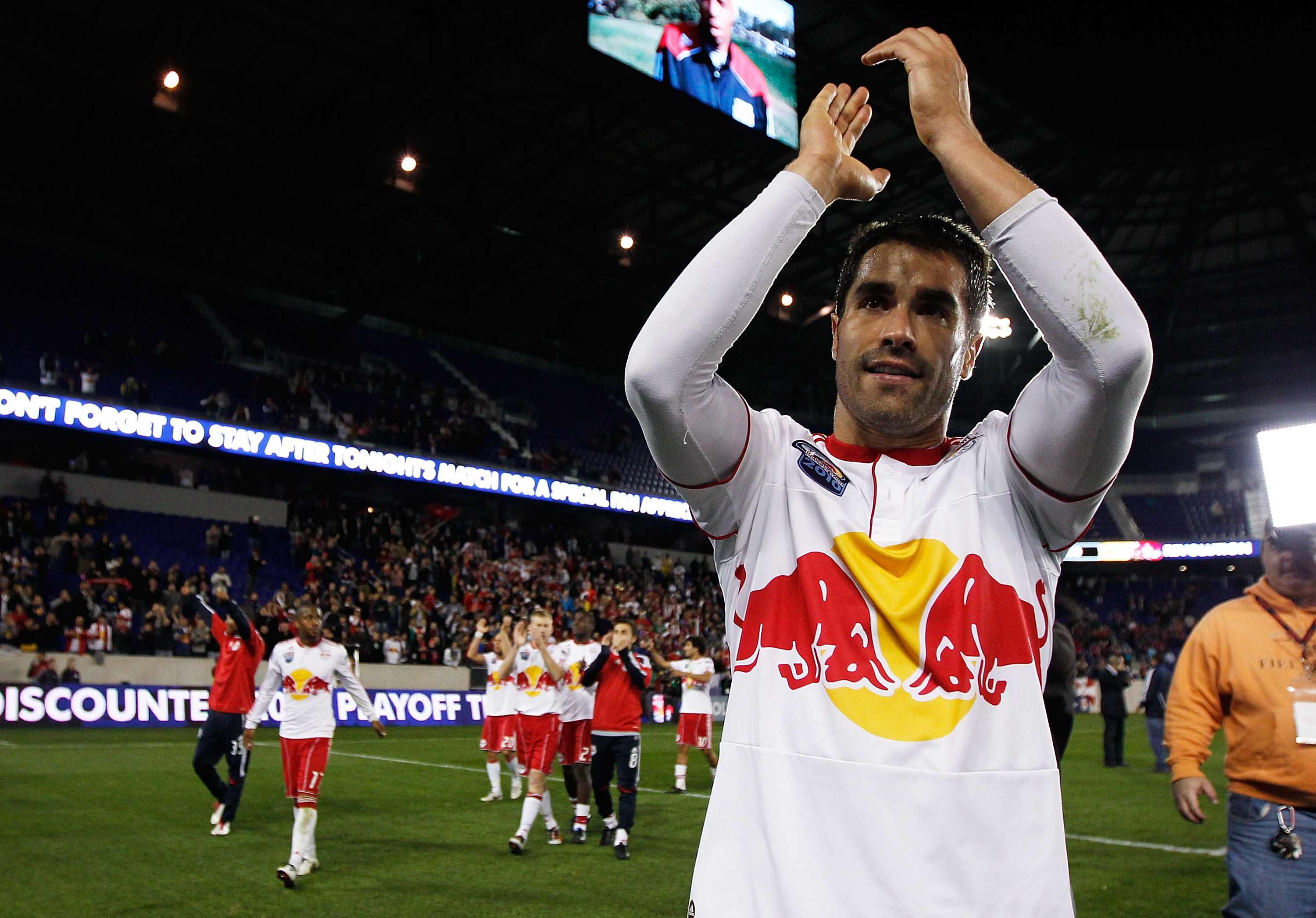 Juan Pablo Angel salutes Red Bulls supporters.
