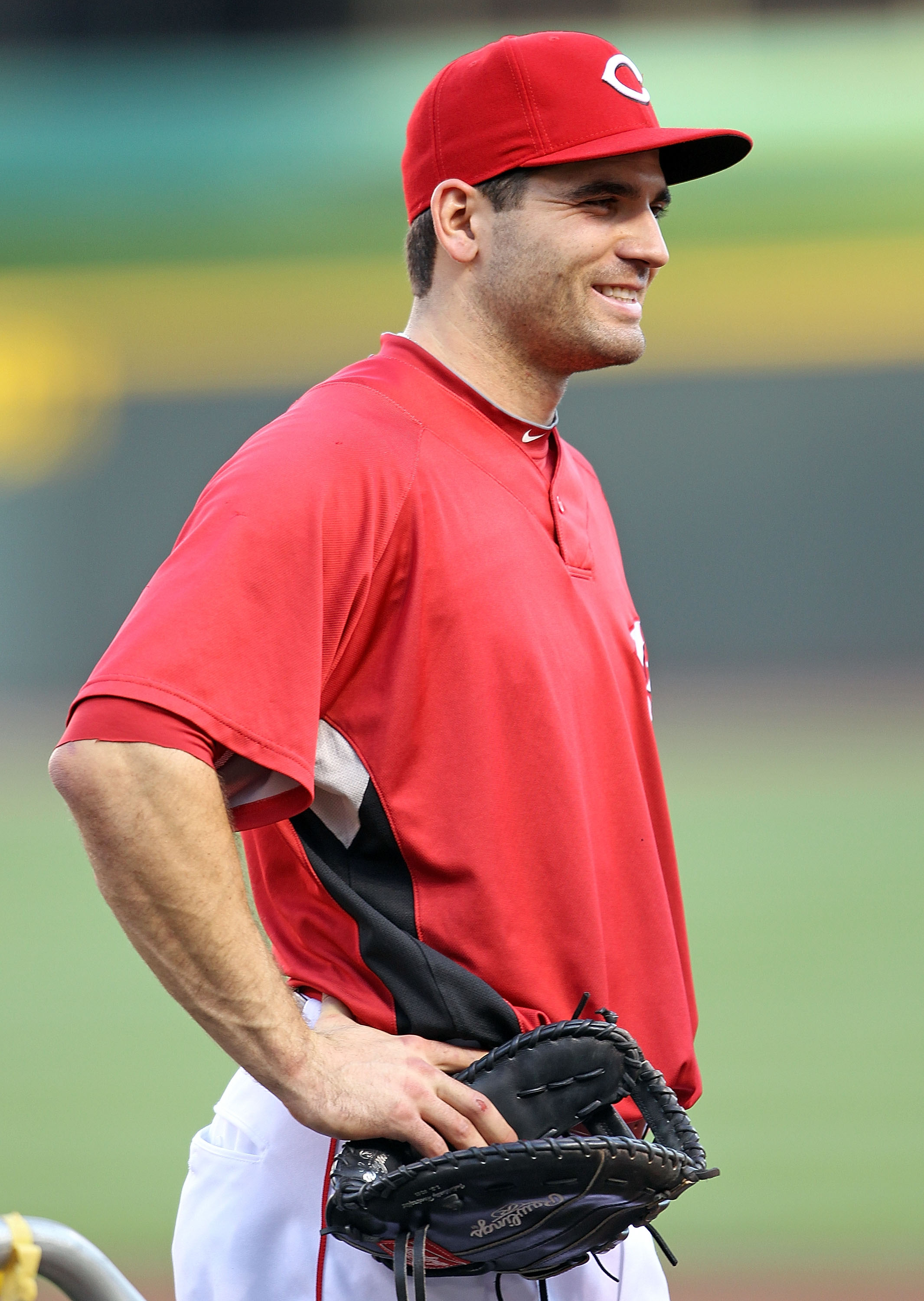 CINCINNATI - OCTOBER 10:  Joey Votto #19 of the Cincinnati Reds participates in batting practice before the start of  Game 3 of the NLDS against the Philadelphia Phillies  at Great American Ball Park on October 10, 2010 in Cincinnati, Ohio.  (Photo by And