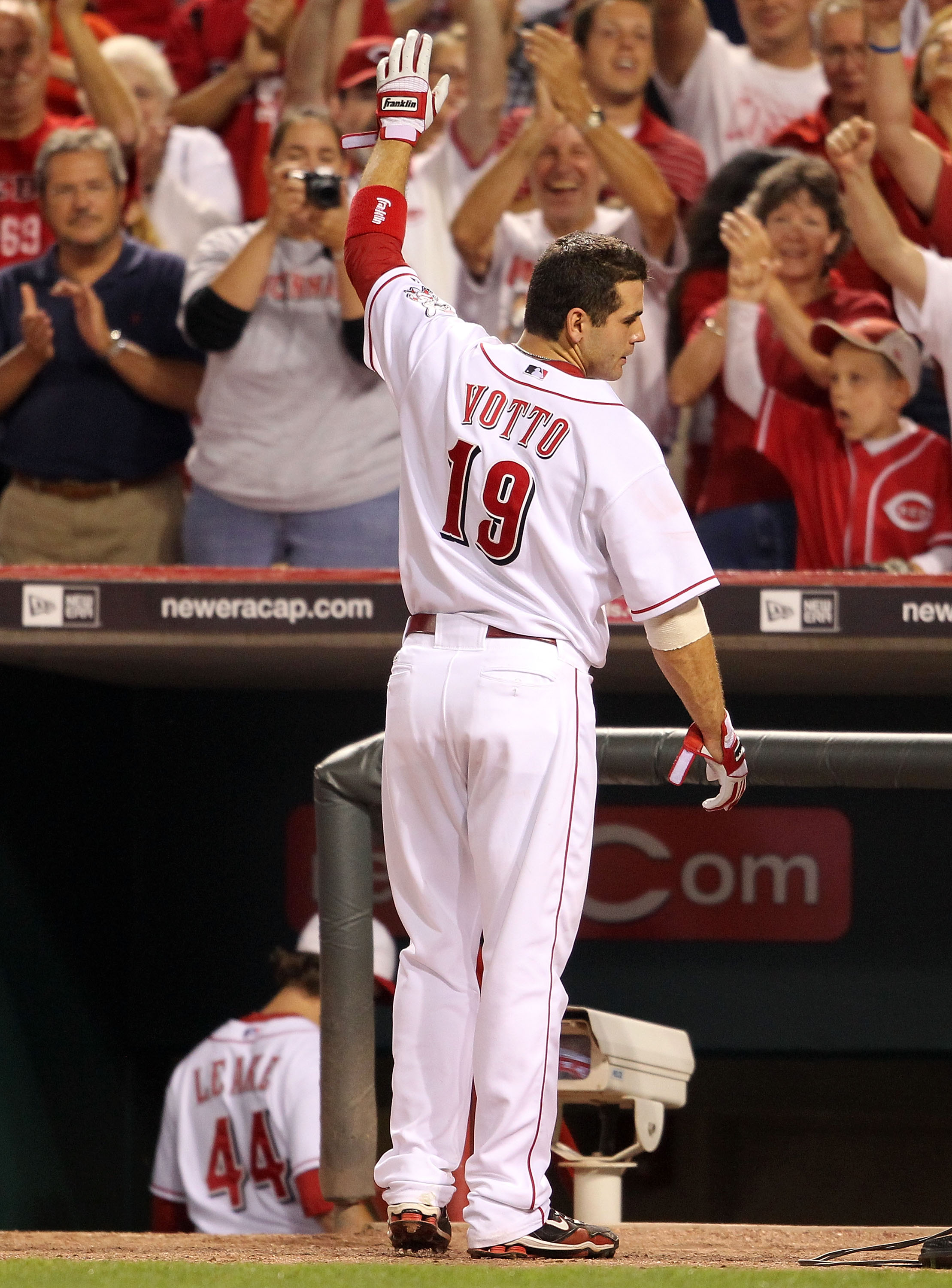 CINCINNATI - SEPTEMBER 11:  Joey Votto #19 of the Cincinnati Reds waves to the crowd during the game against the Pittsburg Pirates at Great American Ball Park on September 11, 2010 in Cincinnati, Ohio.  (Photo by Andy Lyons/Getty Images)