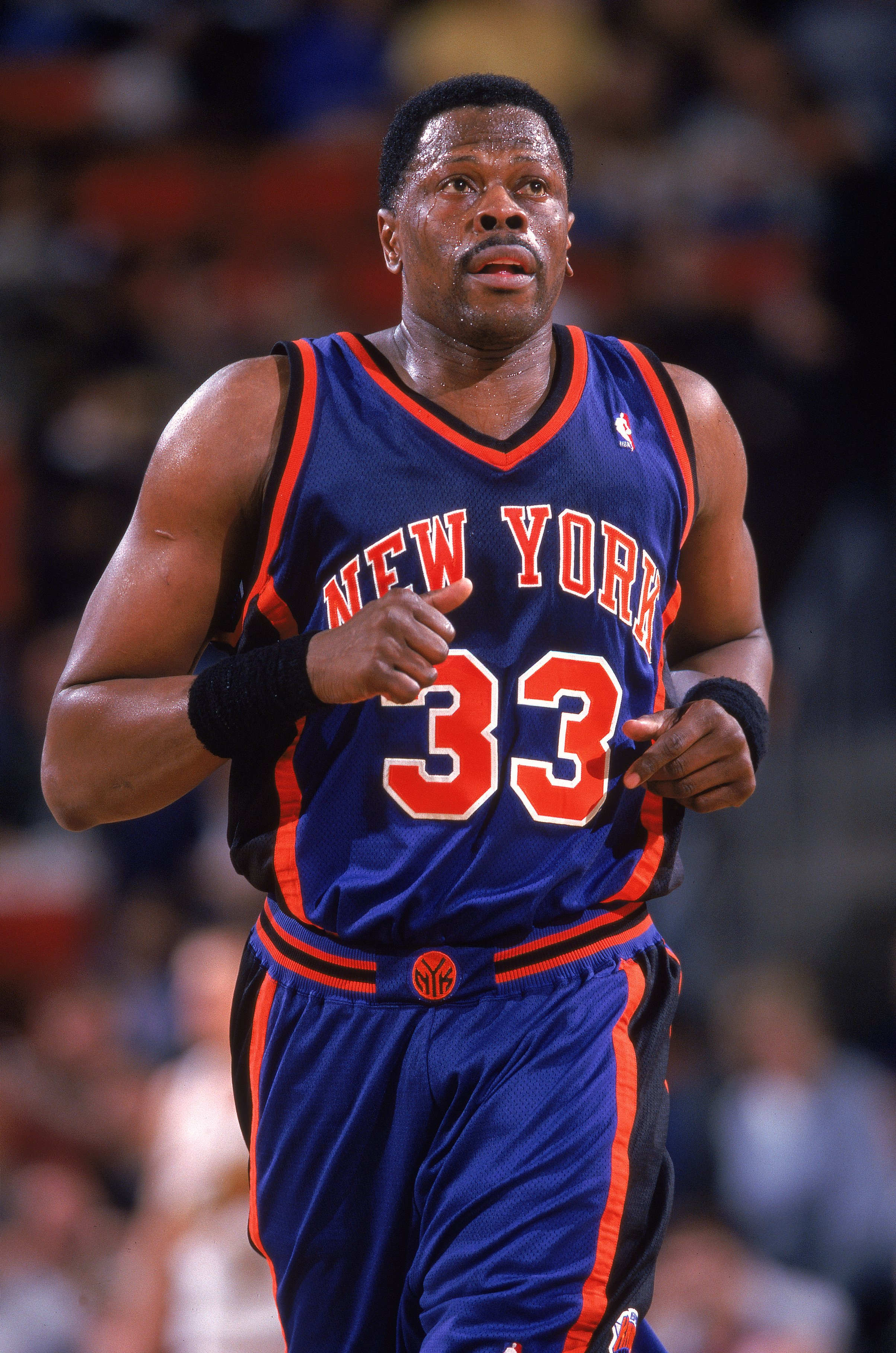 29 Mar 2000: Patrick Ewing #33 of the New York Knicks jogs down the   court during a game against the Seattle SuperSonics at Key Arena in Seattle, Washington. The Knicks defeated the SuperSonics 110-95.   Mandatory Credit: Otto Greule Jr.  /Allsport