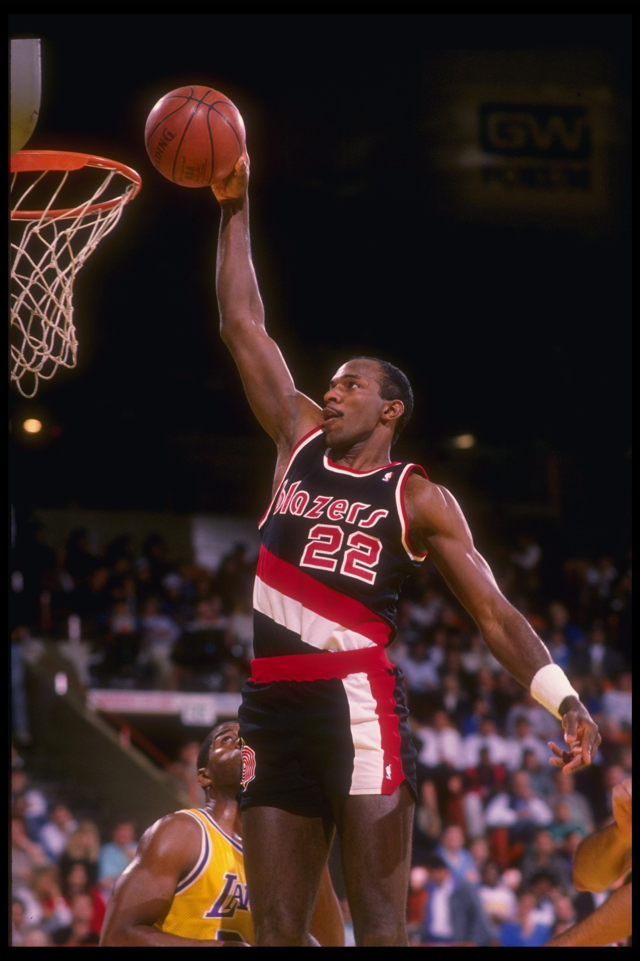Guard Clyde Drexler of the Portland Trail Blazers goes up for two during a game.