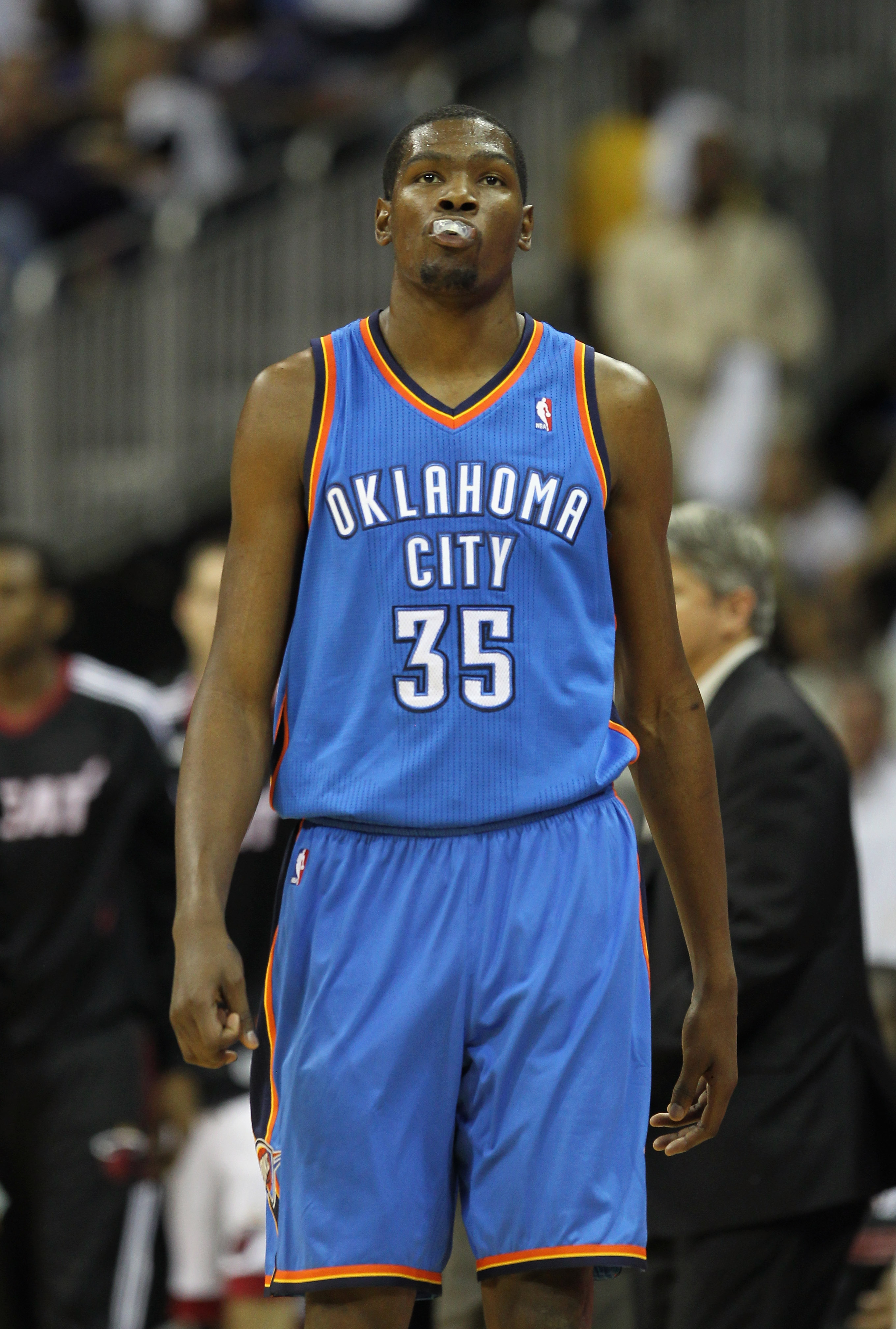 KANSAS CITY, MO - OCTOBER 08:  Kevin Durant #35 of the Oklahoma City Thunder walks back to the bench during the game against the Miami Heat on October 8, 2010 at the Sprint Center in Kansas City, Missouri.  (Photo by Jamie Squire/Getty Images)