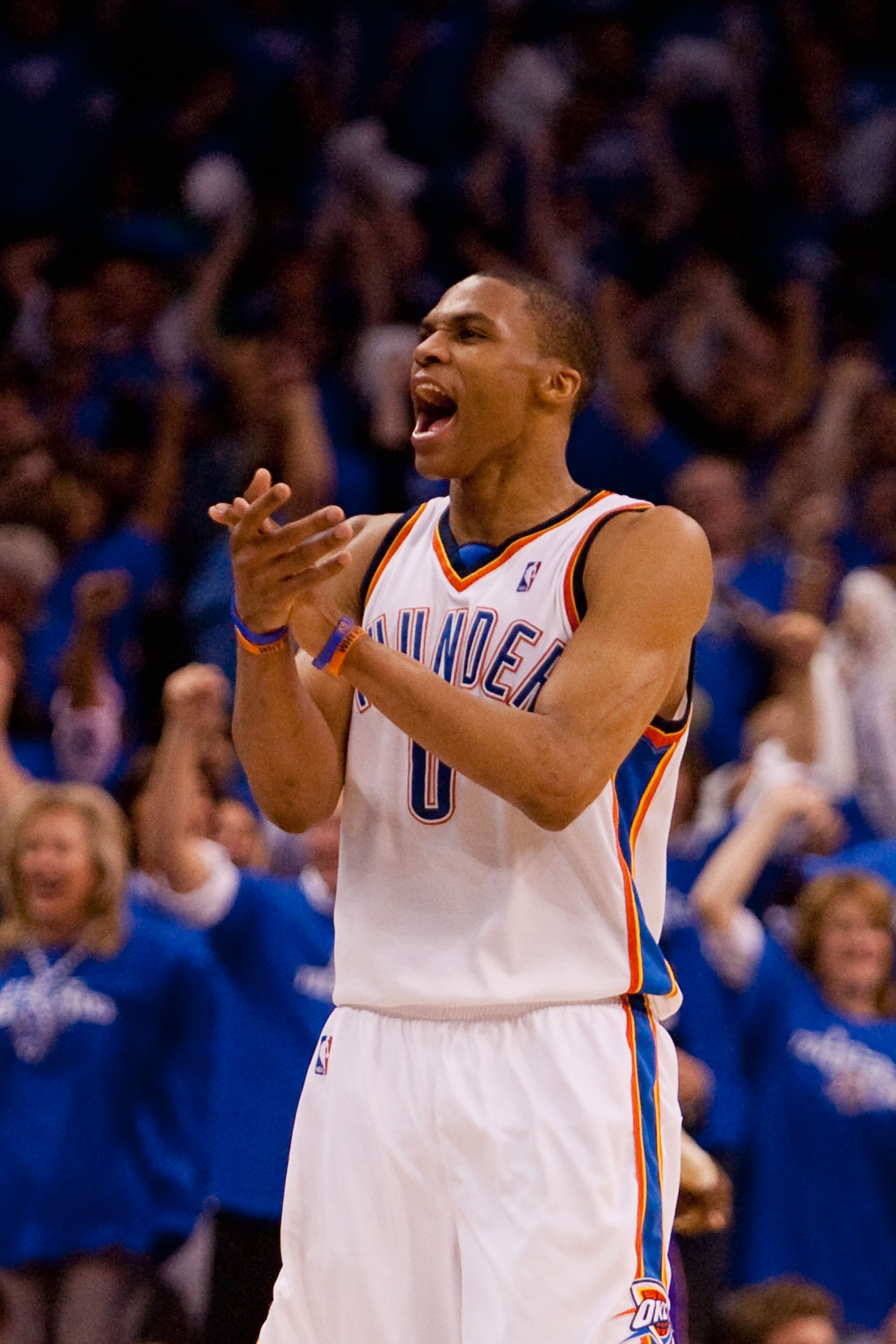 OKLAHOMA CITY - APRIL 22: Russell Westbrook #0 of the Oklahoma City Thunder celebrates a victory over the Los Angeles Lakers during Game Three of the Western Conference Quarterfinals of the 2010 NBA Playoffs on April 22, 2010 at the Ford Center in Oklahom