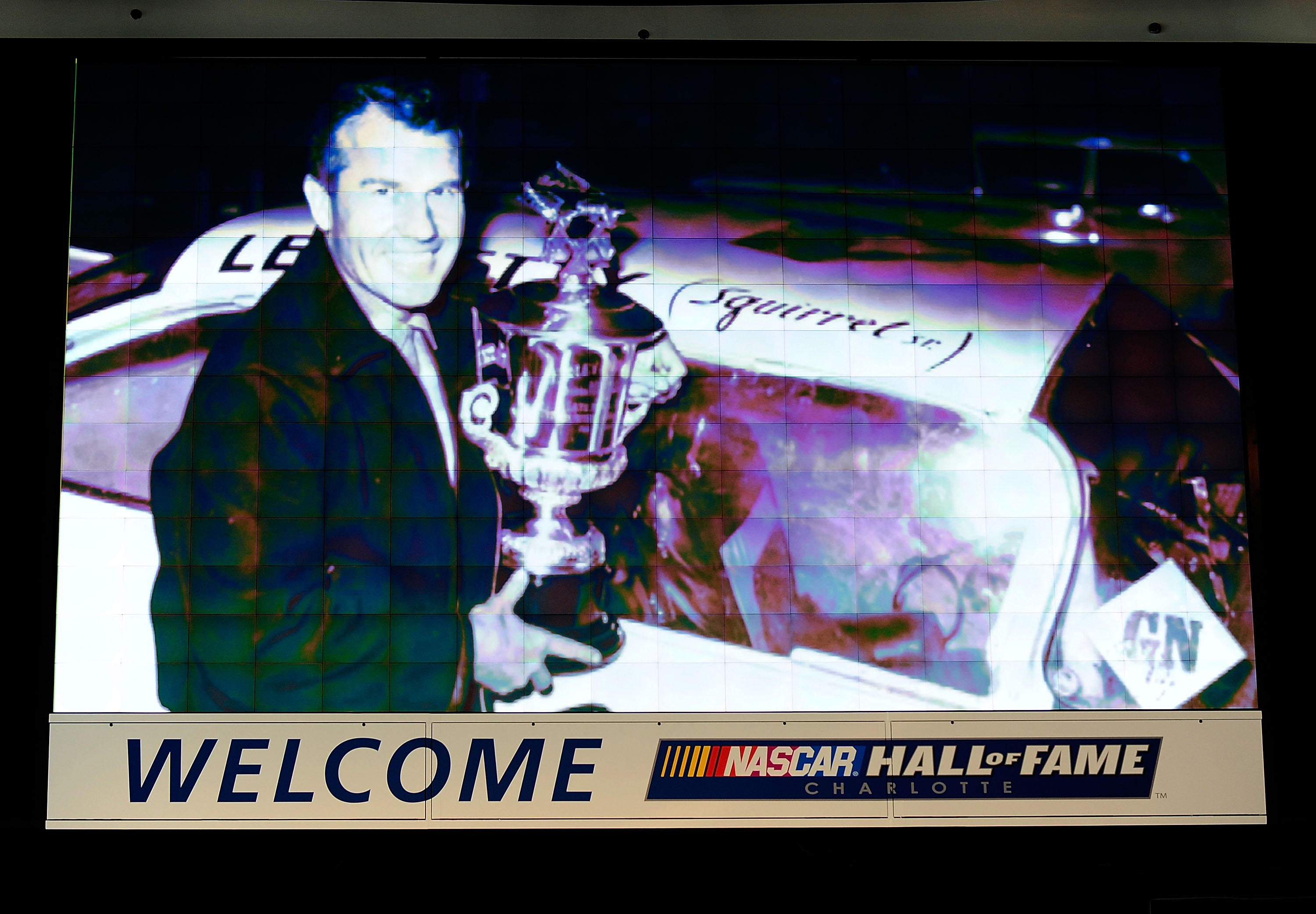 CHARLOTTE, NC - OCTOBER 13:   An image of Lee Petty on the jumbotron during NASCAR Hall of Fame Voting Day at the NASCAR Hall of Fame on October 13, 2010 in Charlotte, North Carolina.  (Photo by Rusty Jarrett/Getty Images for NASCAR)