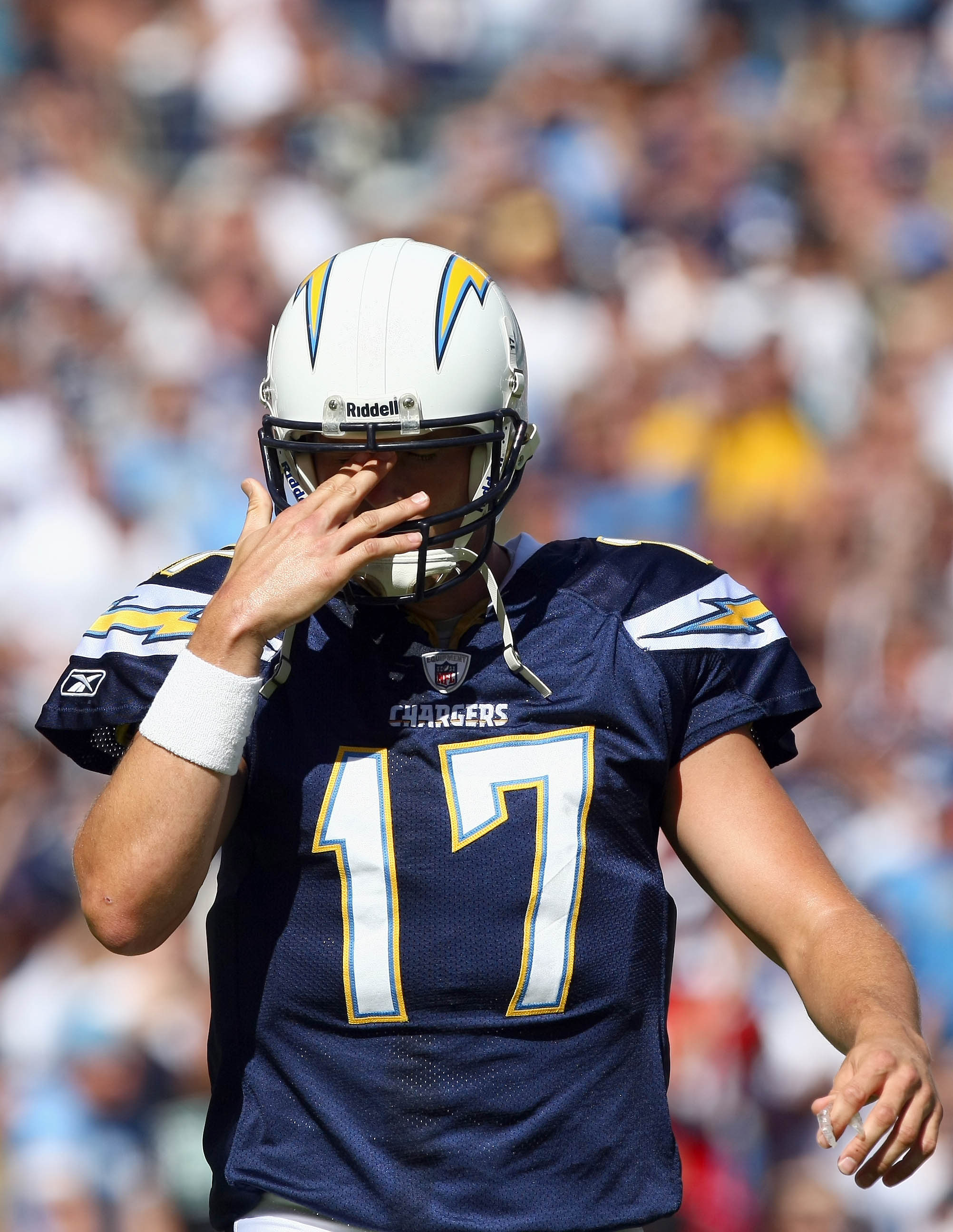 SAN DIEGO - OCTOBER 24:  Quarterback Philip Rivers #17 of the San Diego Chargers reacts to turning over the ball against the New England Patriots during the first half of their NFL game on October 24, 2010 at Qualcomm Stadium in San Diego, California. (Ph