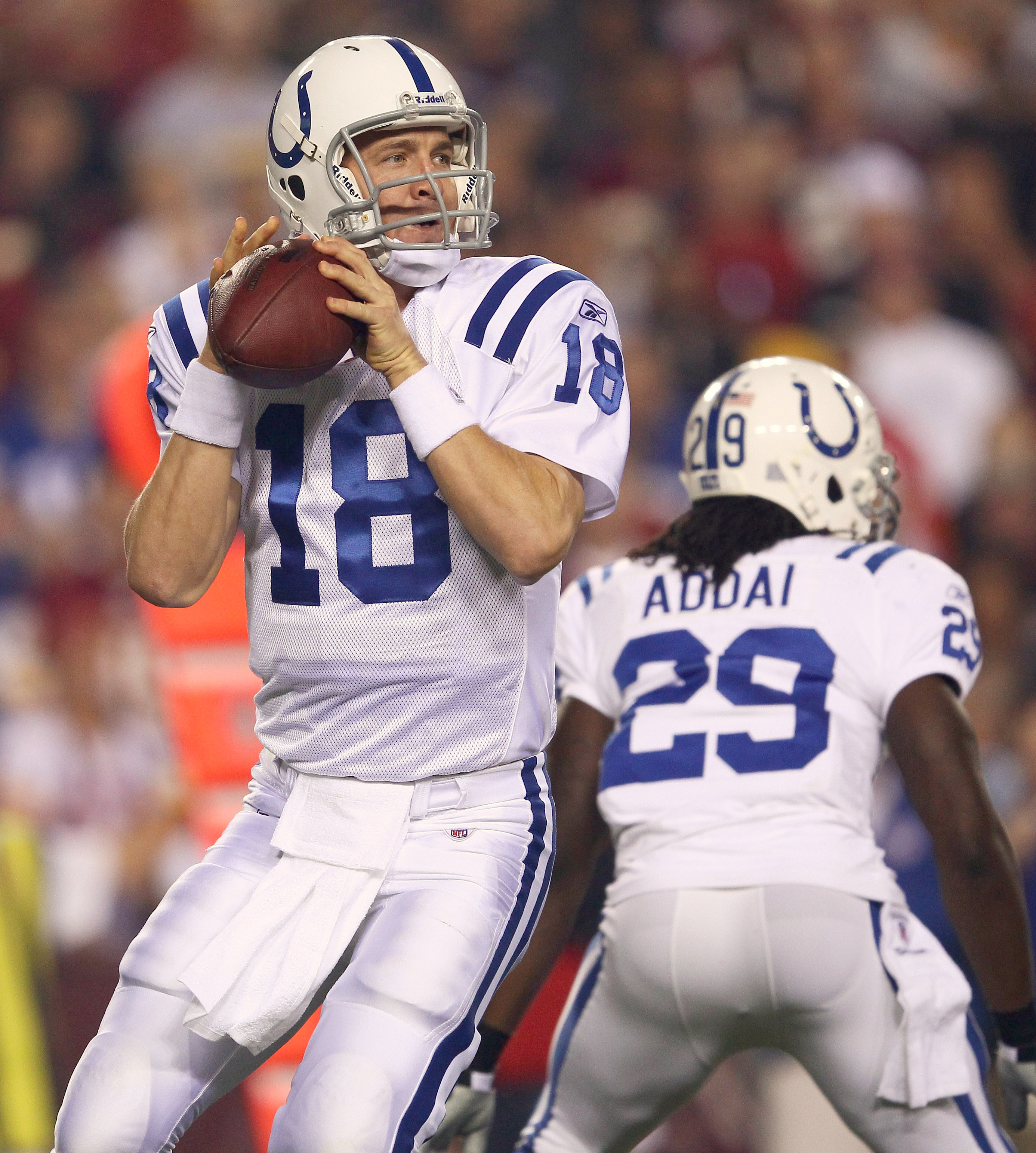 LANDOVER, MD - OCTOBER 17:  Quarterback Peyton Manning #18 of the Indianapolis Colts throws a pass against the Washington Redskins at FedExField on October 17, 2010 in Landover, Maryland.  (Photo by Win McNamee/Getty Images)