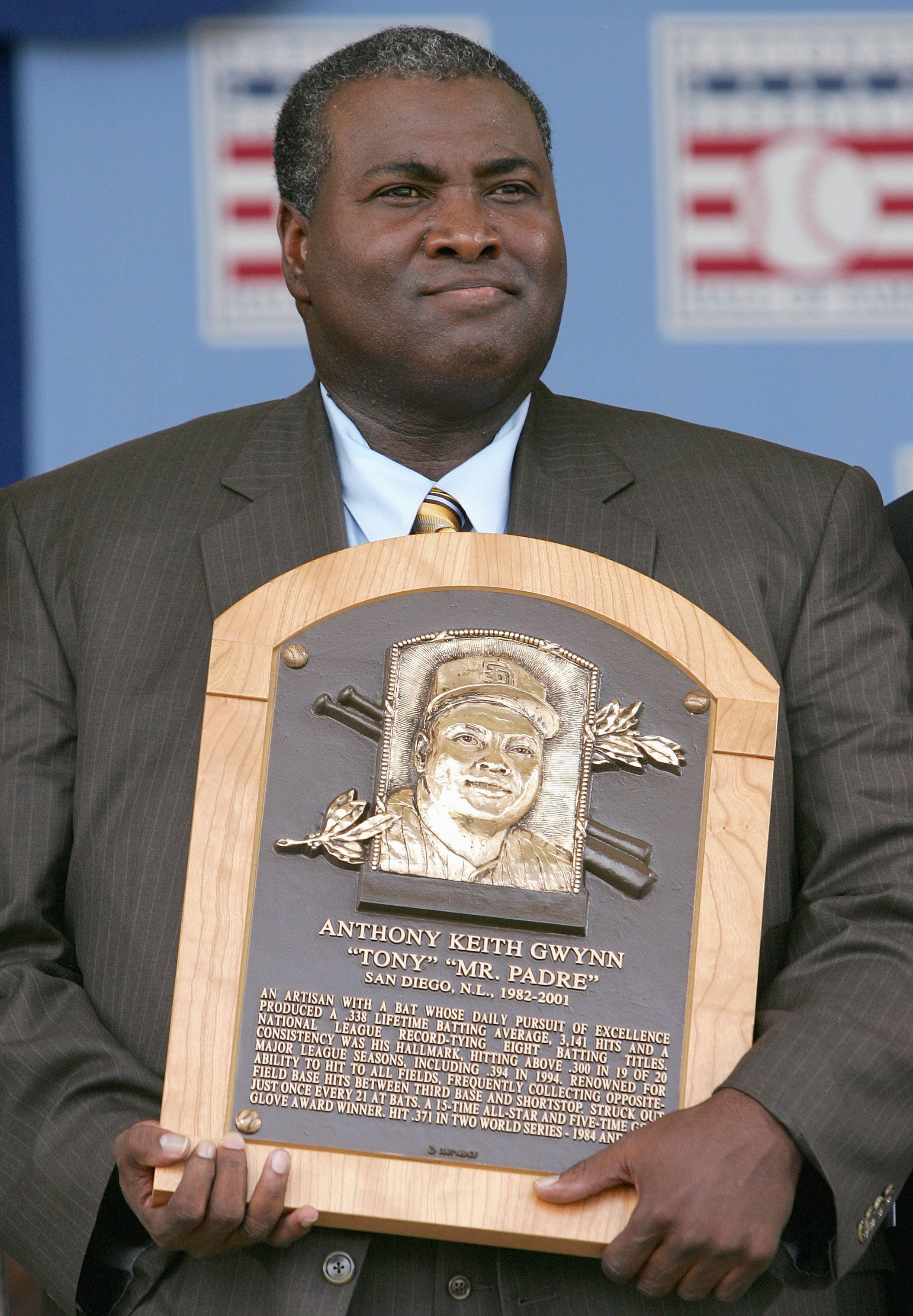 COOPERSTOWN, NY - JULY 29: 2007 inductee Tony Gwynn poses with his plaque at Clark Sports Center during the Baseball Hall of Fame induction ceremony on July 29, 2007 in Cooperstown, New York. (Photo by Chris McGrath/Getty Images)