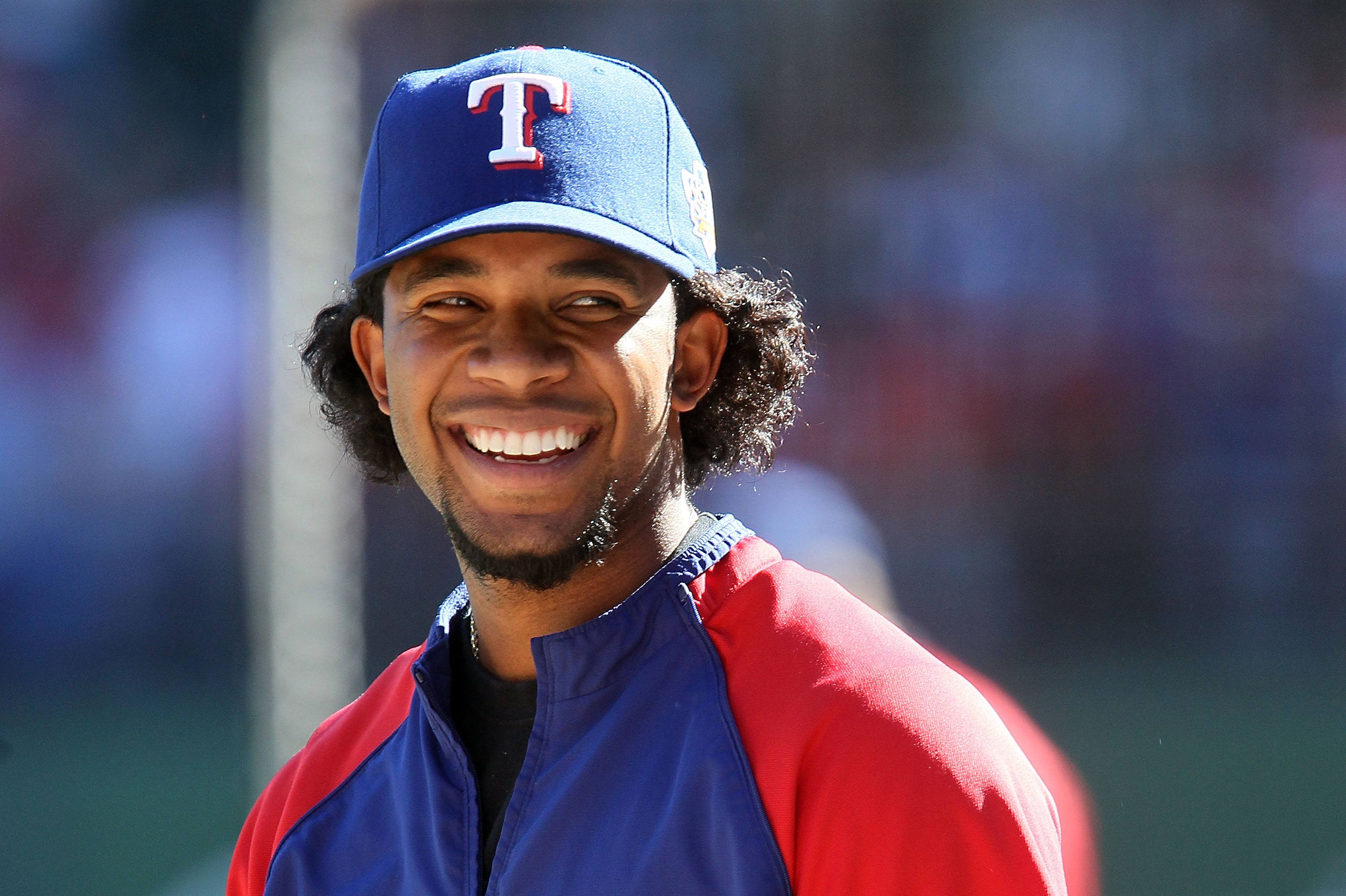ARLINGTON, TX - OCTOBER 30:  Elvis Andrus #1 of the Texas Rangers looks on during batting practice against the San Francisco Giants in Game Three of the 2010 MLB World Series at Rangers Ballpark in Arlington on October 30, 2010 in Arlington, Texas.  (Phot