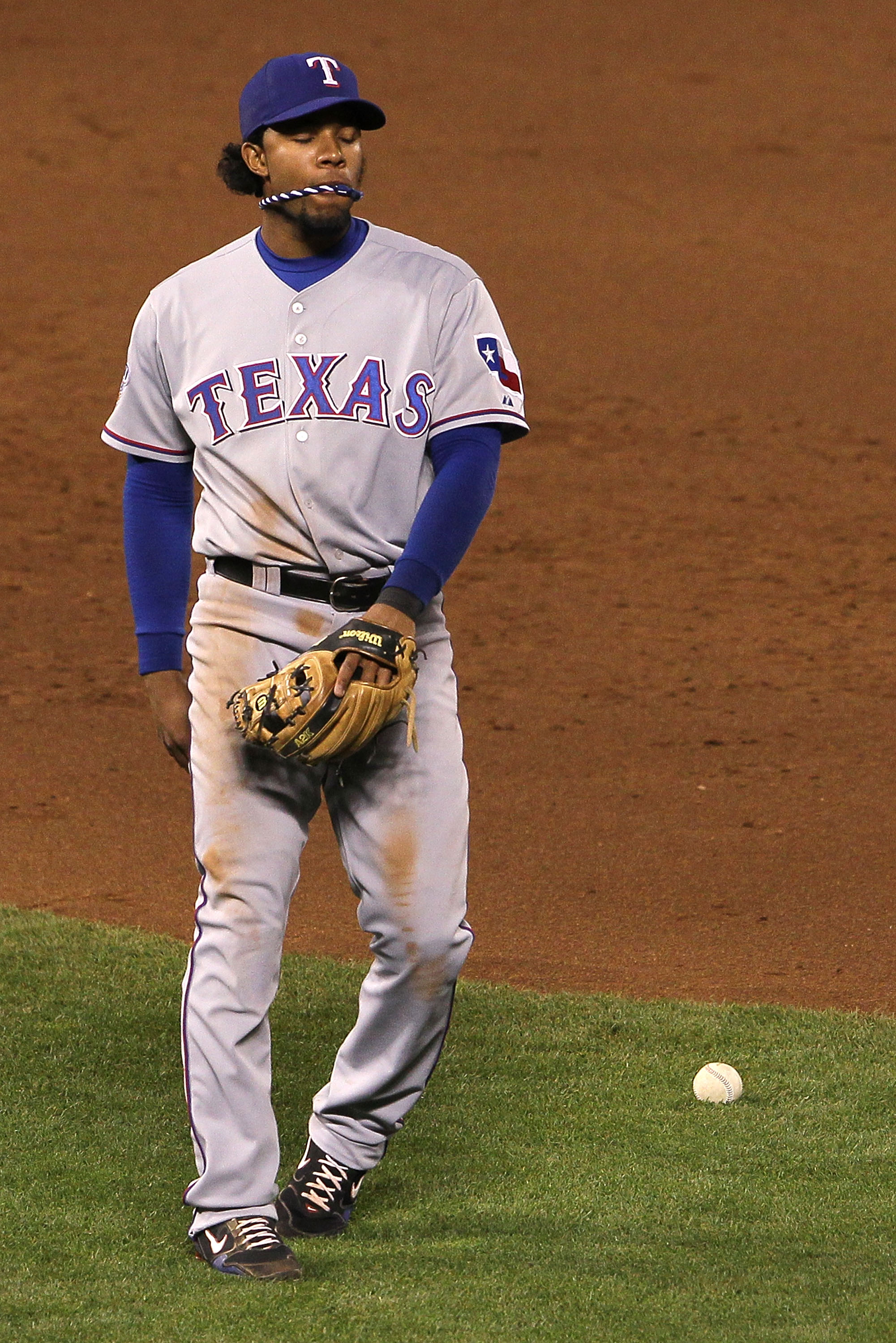 SAN FRANCISCO - OCTOBER 27:  Elvis Andrus #1 of the Texas Rangers reacts after making an error in the fifth inning of Game One of the 2010 MLB World Series at AT&T Park on October 27, 2010 in San Francisco, California.  (Photo by Justin Sullivan/Getty Ima