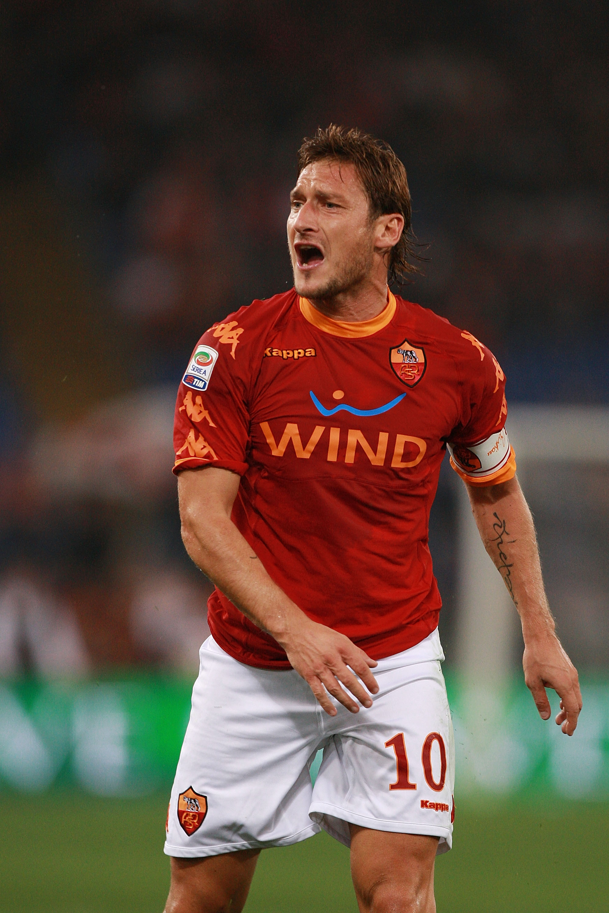 Roma captain Francesco Totti has spent his entire career with AS Roma.