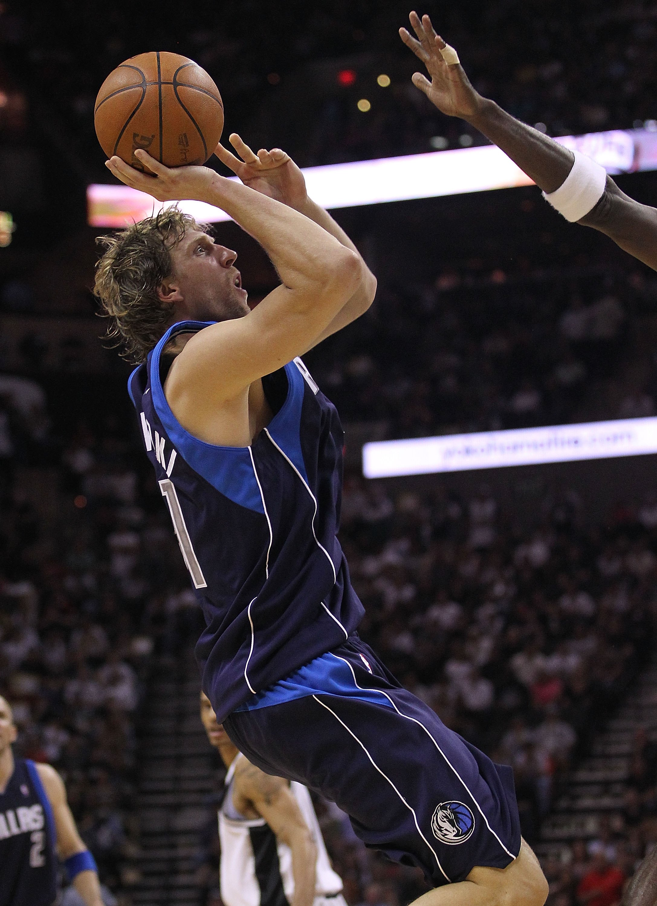 SAN ANTONIO - APRIL 29:  Dirk Nowitzki #41 of the Dallas Mavericks in Game Six of the Western Conference Quarterfinals during the 2010 NBA Playoffs at AT&T Center on April 29, 2010 in San Antonio, Texas. NOTE TO USER: User expressly acknowledges and agree