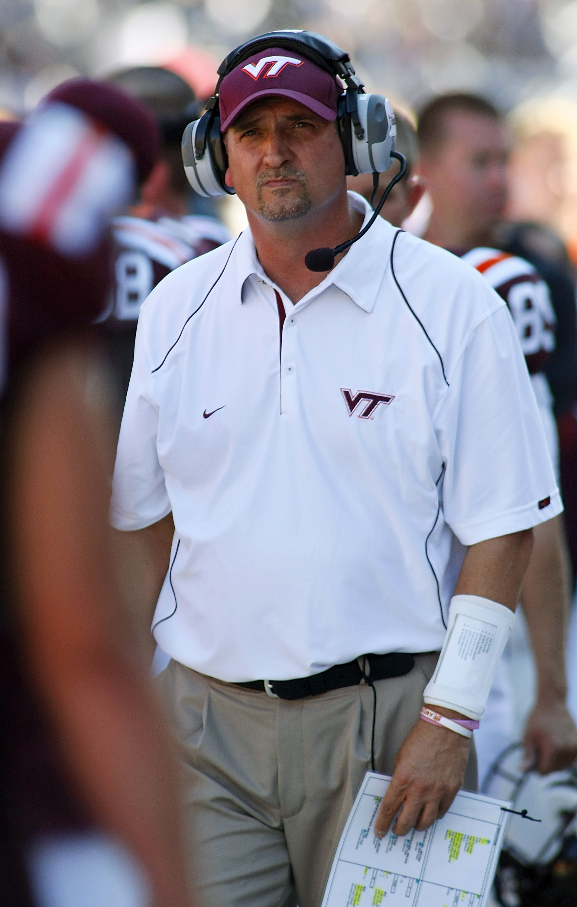 BLACKSBURG, VA - SEPTEMBER 18: Virginia Tech Hokies defensive coordinator Bud Foster watches from the sidelines against the East Carolina Pirates at Lane Stadium on September 18, 2010 in Blacksburg, Virginia.  (Photo by Geoff Burke/Getty Images)