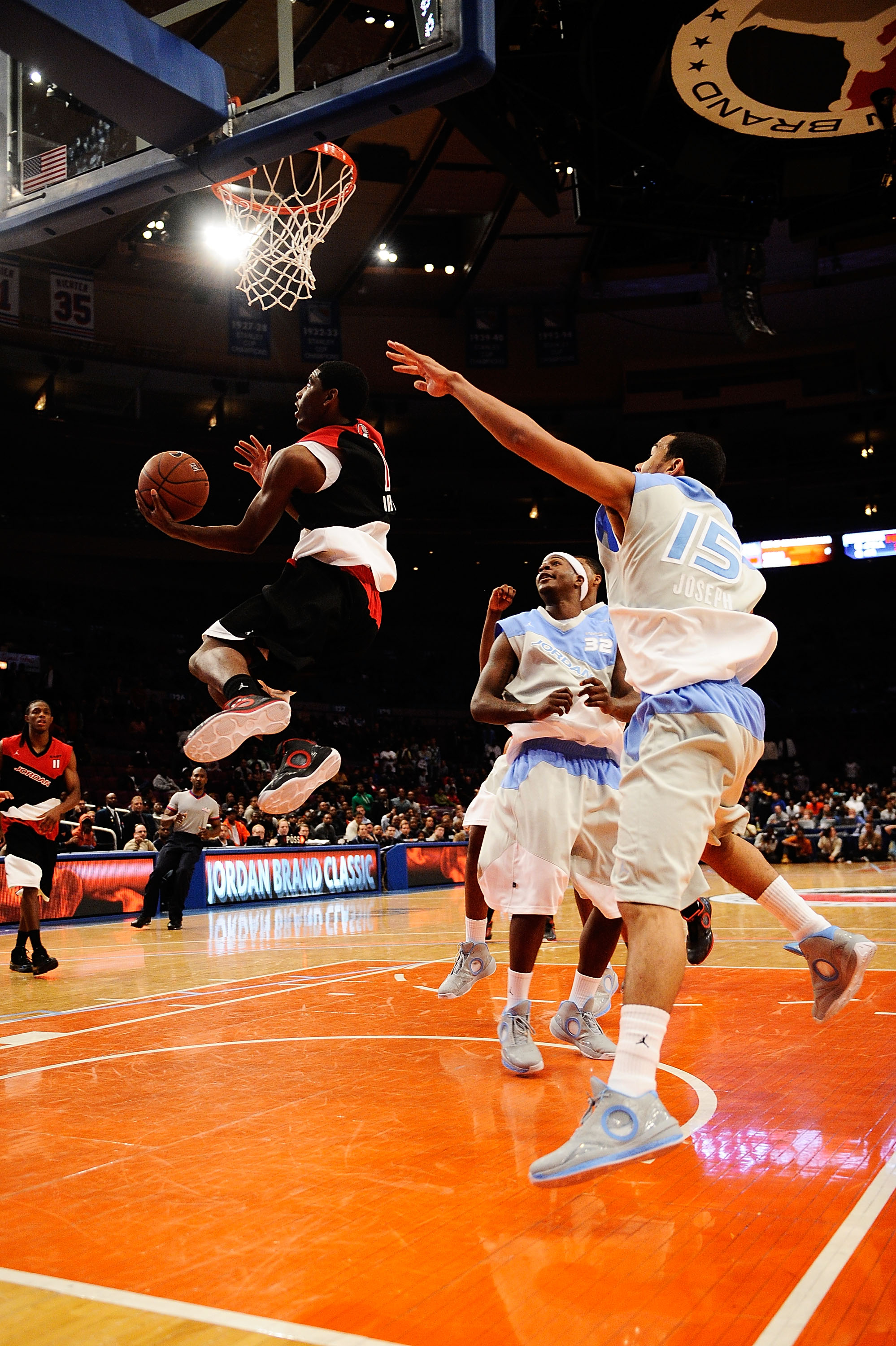 NEW YORK - APRIL 17:  Kyrie Irving #1 of East Team goes for a shot during the National Game at the 2010 Jordan Brand classic at Madison Square Garden on April 17, 2010 in New York City.  (Photo by Jeff Zelevansky/Getty Images for Jordan Brand Classic)