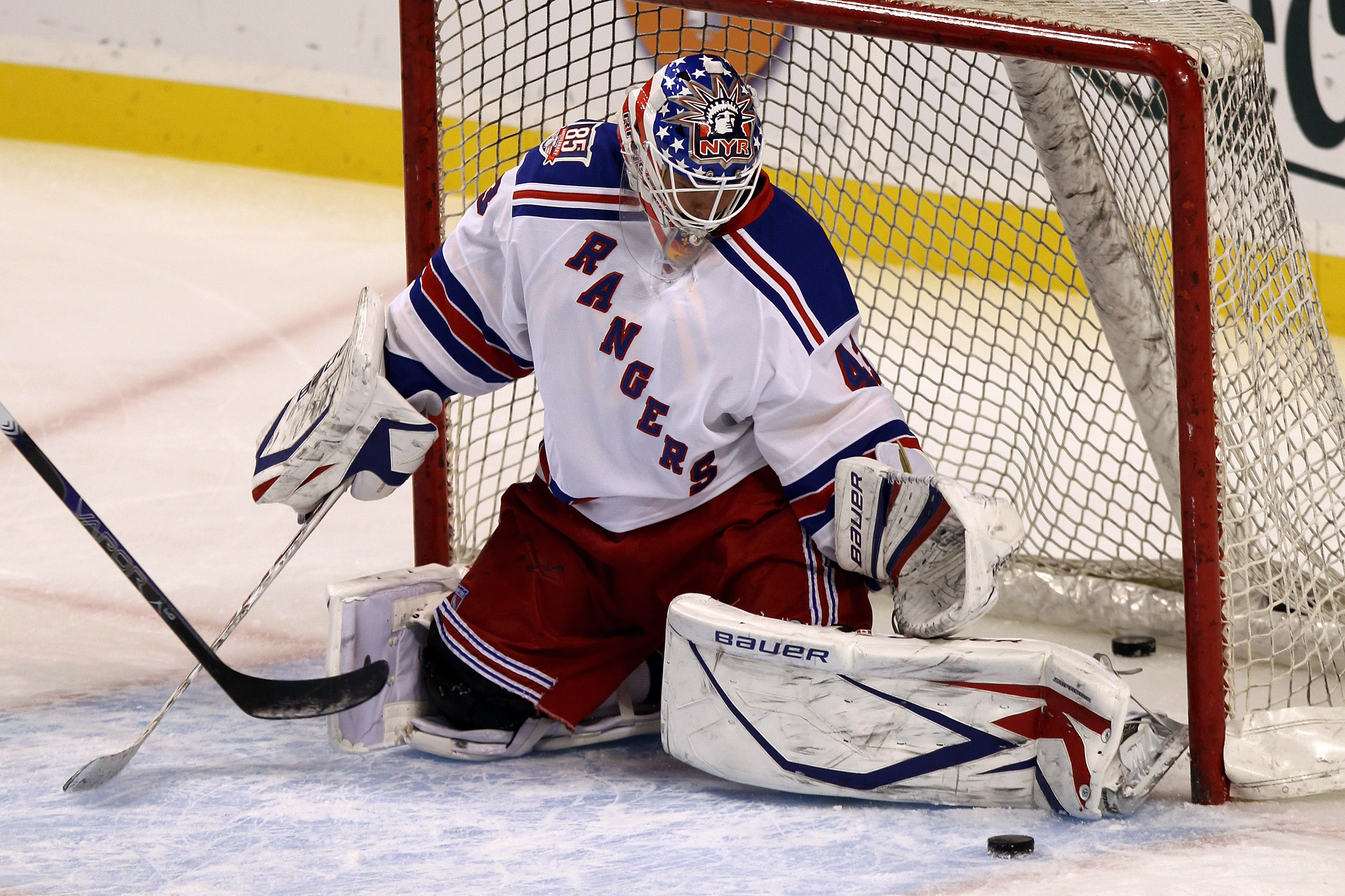 BOSTON - OCTOBER 23:  Martin Biron #43 of the New York Rangers skates during warmups before the game against the Boston Bruins at the TD Garden on October 23, 2010 in Boston, Massachusetts.  The Rangers won 3-2.  (Photo by Bruce Bennett/Getty Images)