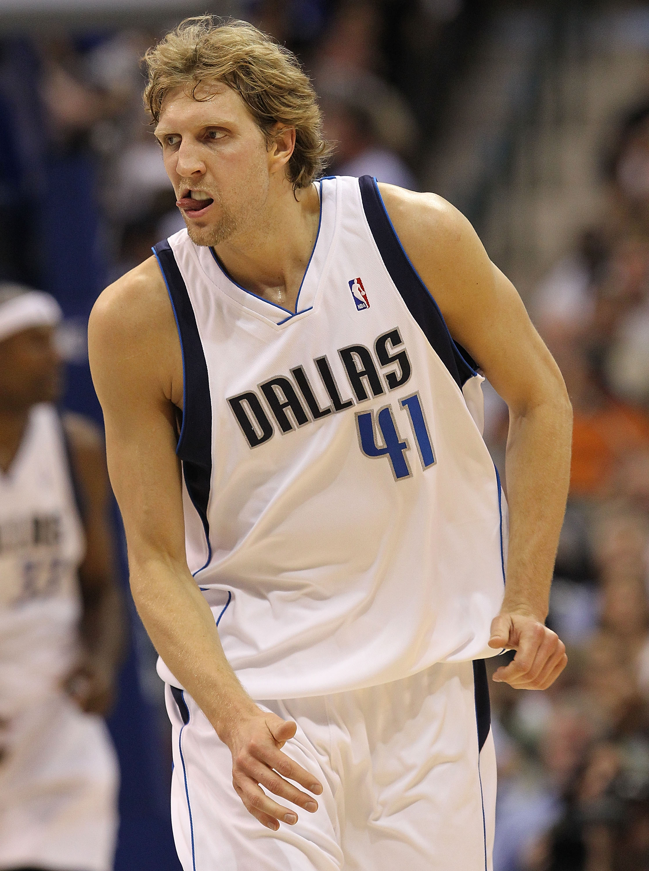 0fcabce37 DALLAS - APRIL 27  Forward Dirk Nowitzki  41 of the Dallas Mavericks reacts  during