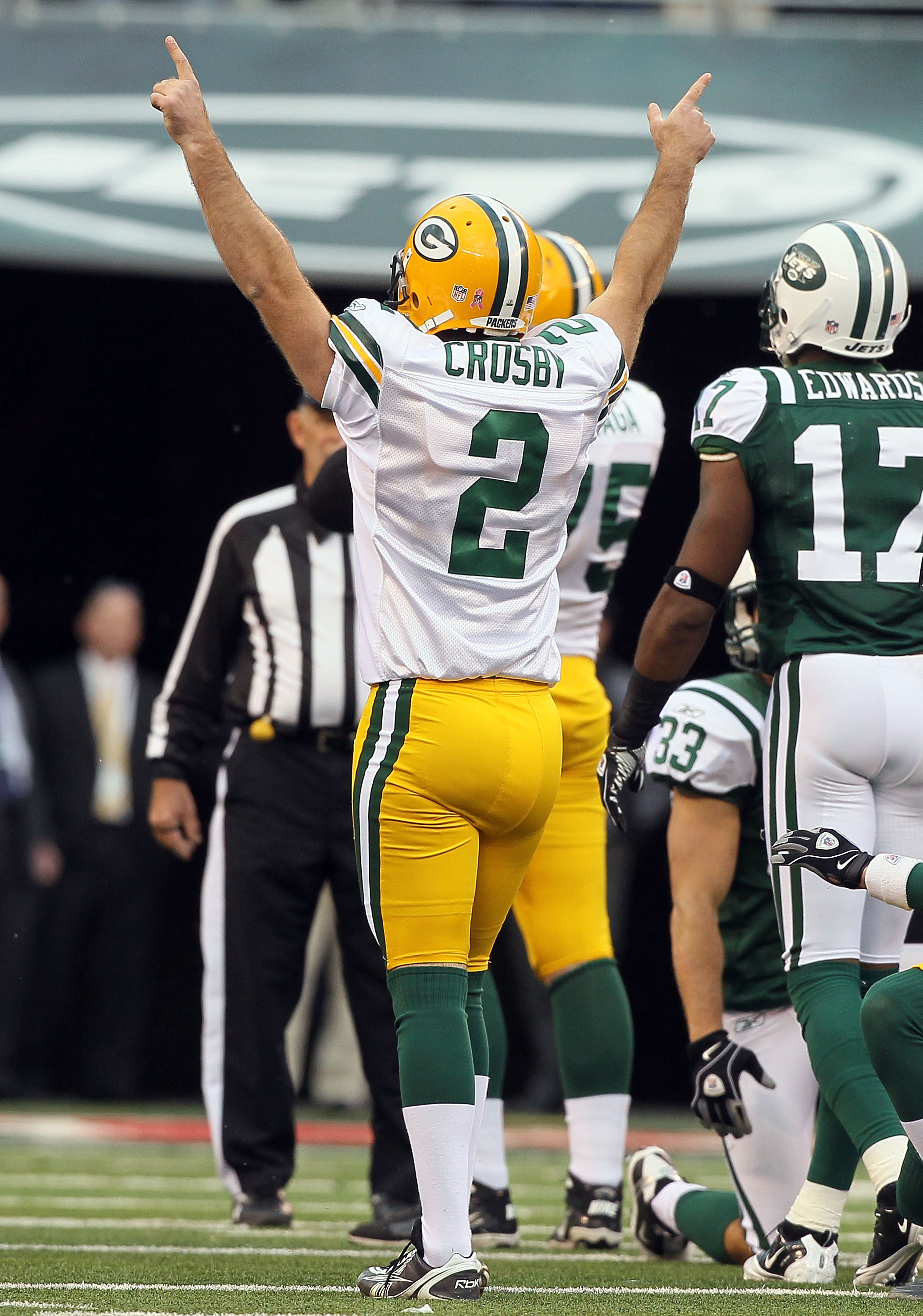 EAST RUTHERFORD, NJ - OCTOBER 31:  Mason Crosby #2 of the Green Bay Packers celebrates his field goal late in the fourth quarter that gave his team a 9-0 lead against the New York Jets on October 31, 2010 at the New Meadowlands Stadium in East Rutherford,
