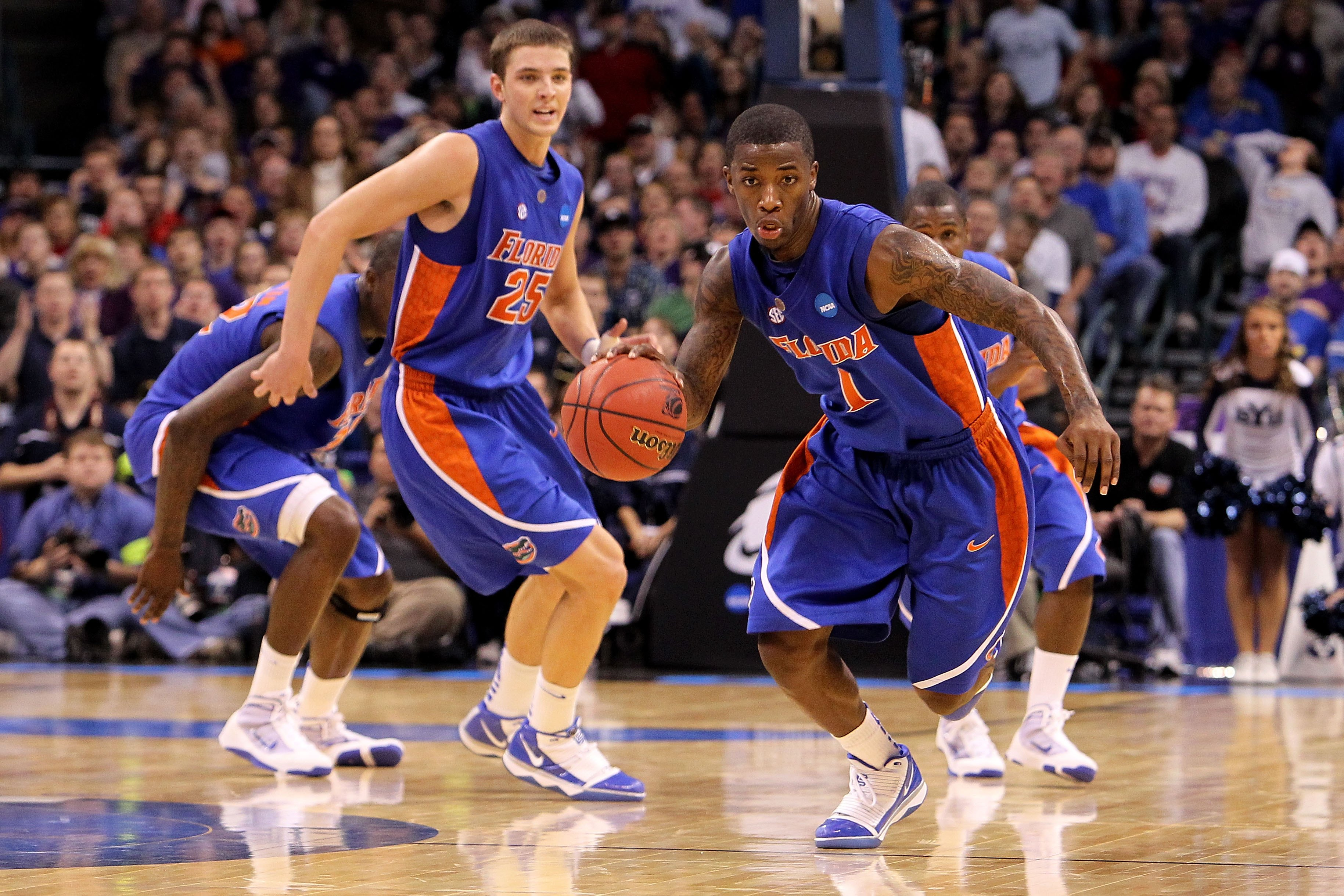 OKLAHOMA CITY - MARCH 18:  Kenny Boynton #1 of  the Florida Gators pushes the ball up court in overtime against the BYU Cougars during the first round of the 2010 NCAA men�s basketball tournament at Ford Center on March 18, 2010 in Oklahoma City, Oklahoma