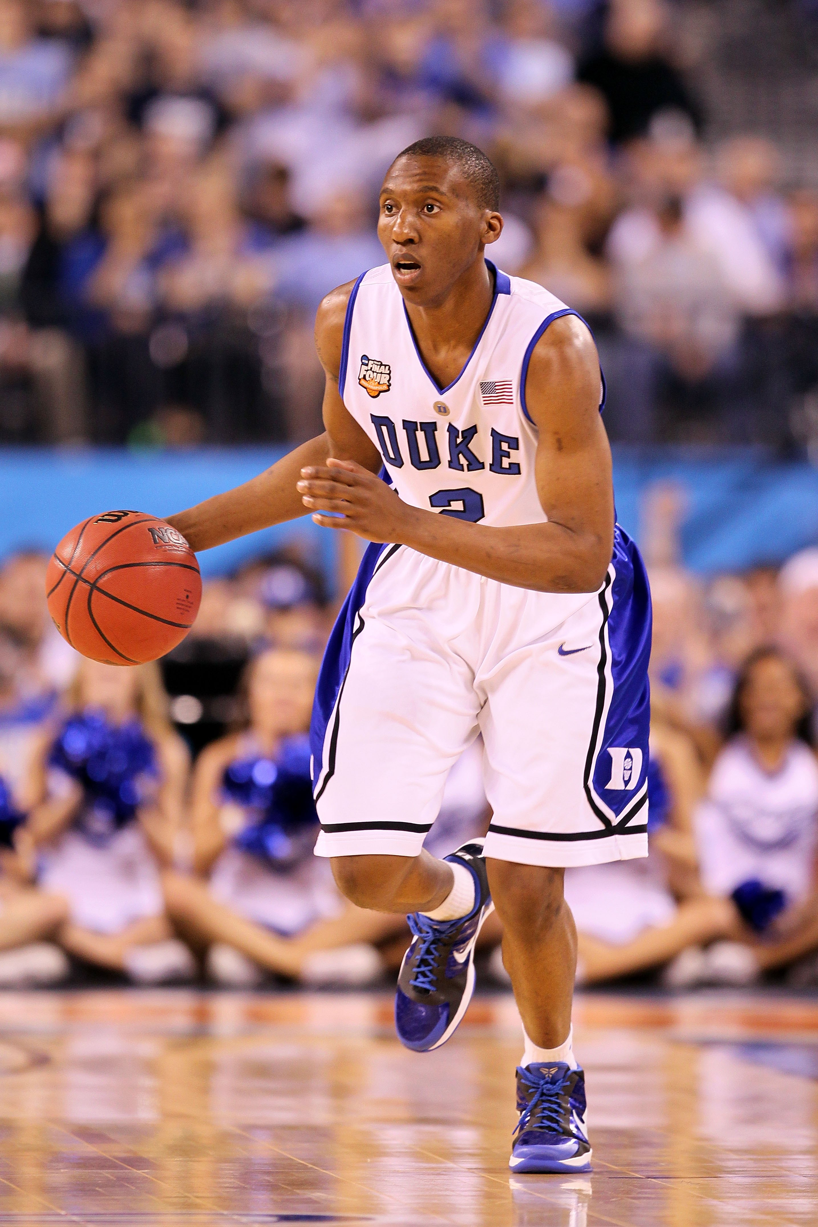 INDIANAPOLIS - APRIL 05:  Nolan Smith #2 of the Duke Blue Devils brings the ball up court against the Butler Bulldogs during the 2010 NCAA Division I Men's Basketball National Championship game at Lucas Oil Stadium on April 5, 2010 in Indianapolis, Indian