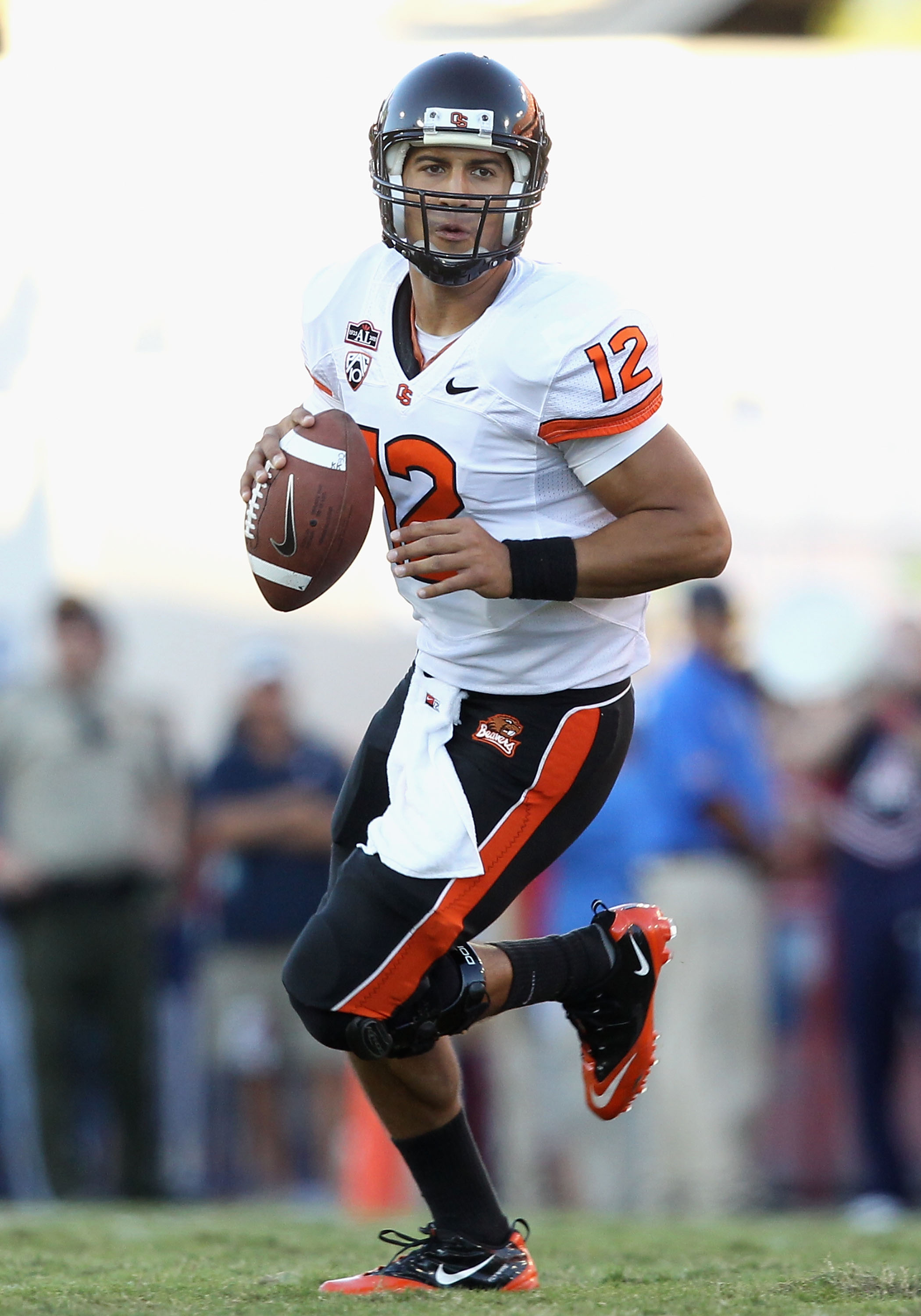 TUCSON, AZ - OCTOBER 09:  Quarterback Ryan Katz #12 of the Oregon State Beavers drops back to pass during the college football game against the Arizona Wildcats at Arizona Stadium on October 9, 2010 in Tucson, Arizona.  The Beavers defeated the Wildcats 2