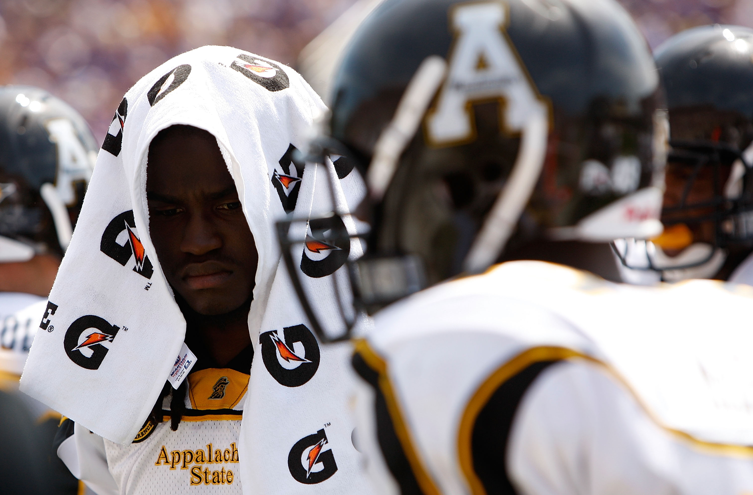 GREENVILLE, NC - SEPTEMBER 05:  Armanti Edwards #14 of the Appalachian State Mountaineers reacts to his teams' 29-24 loss to the East Carolina Pirates at Dowdy-Ficklen Stadium on September 5, 2009 in Greenville, North Carolina.  (Photo by Streeter Lecka/G