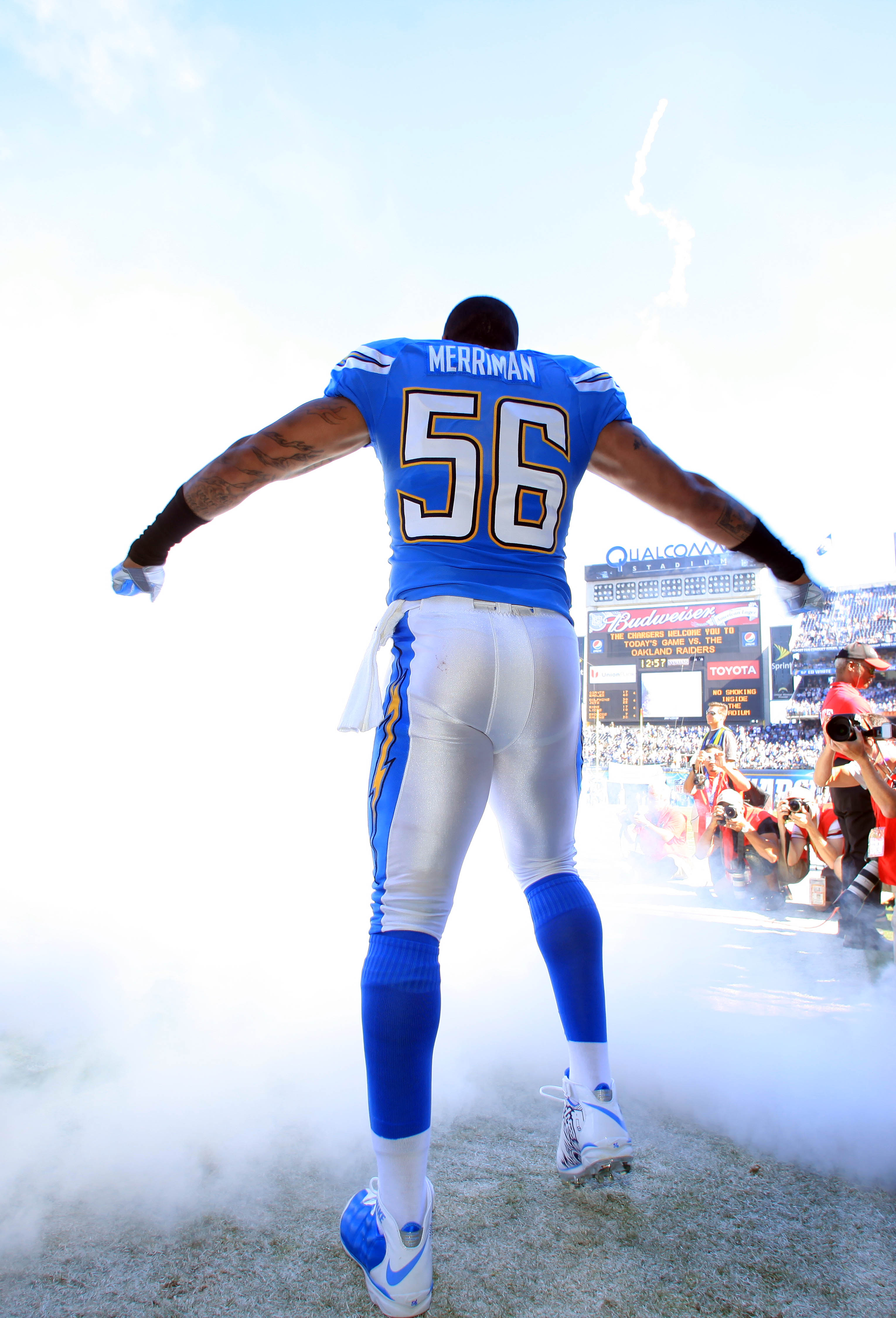 SAN DIEGO, CA - NOVEMBER 1:  Shawne Merriman #56 of the San Diego Chargers enters the field before the game against the Oakland Raiders on November 1, 2009 at Qualcomm Stadium in San Diego, California. (Photo by Donald Miralle/Getty Images)