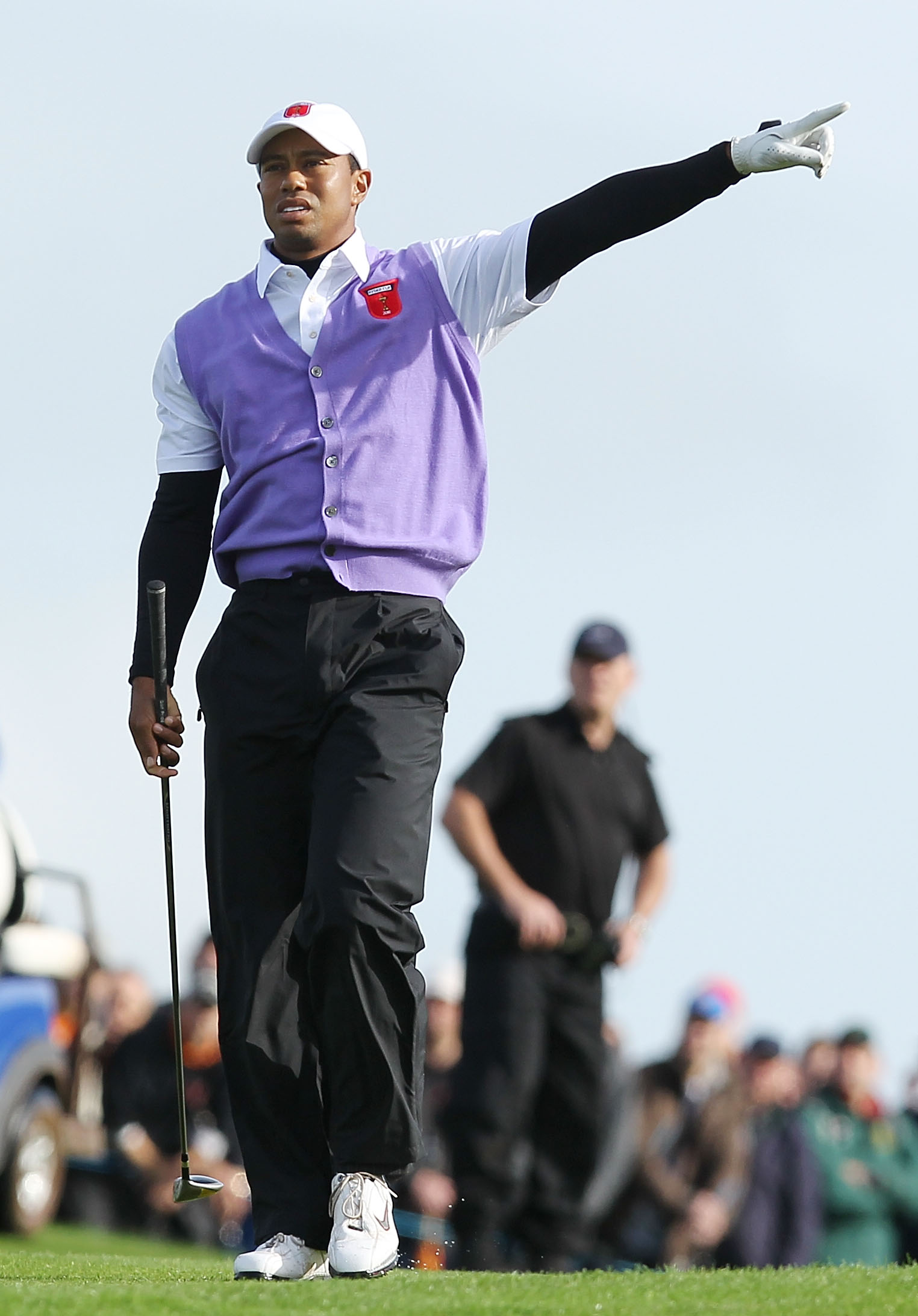 NEWPORT, WALES - OCTOBER 02:  Tiger Woods of the USA watches his second shot on the 18th hole during the rescheduled Morning Fourball Matches during the 2010 Ryder Cup at the Celtic Manor Resort on October 2, 2010 in Newport, Wales.  (Photo by Andy Lyons/