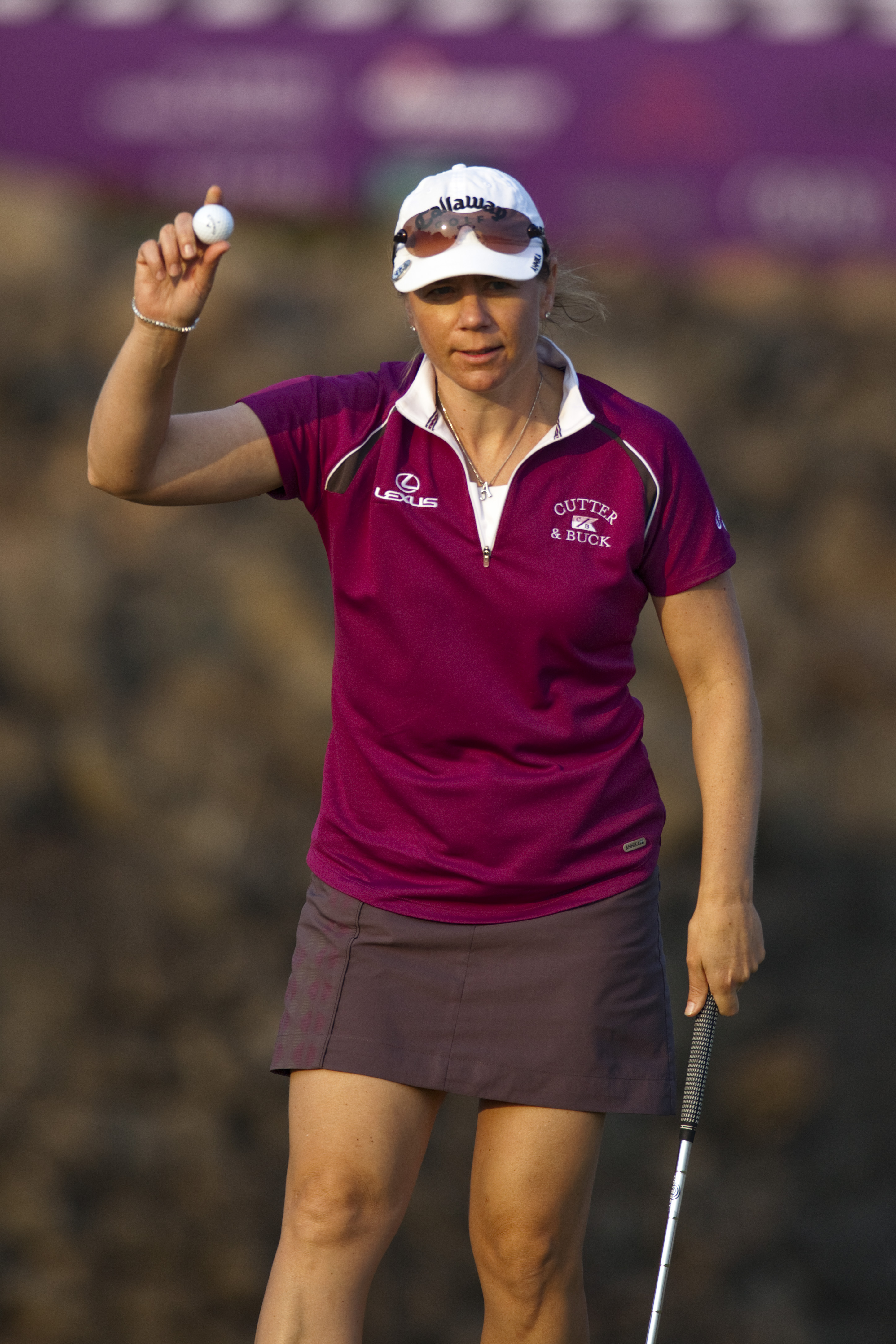 HAIKOU, CHINA - OCTOBER 30:  Golfer Annika Sorenstam of Sweden waves to crowd during day four of the Mission Hills Start Trophy tournament at Mission Hills Resort on October 30, 2010 in Haikou, China. The Mission Hills Star Trophy is Asia's leading leisur