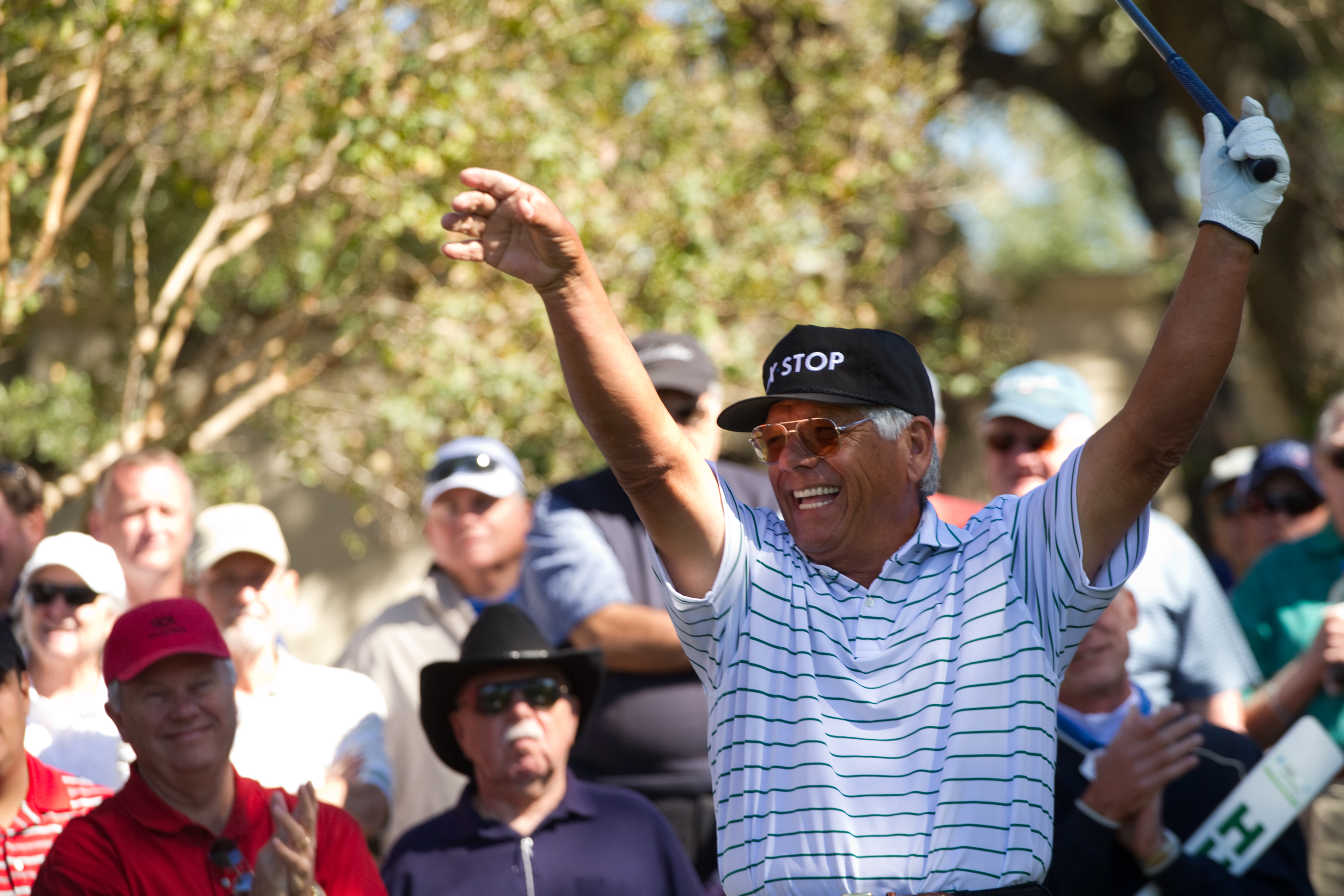 SAN ANTONIO, TX - OCTOBER 30: Lee Trevino prepares to tee off during the second round of the AT&T Championship at Oak Hills Country Club on October 30, 2010 in San Antonio, Texas. (Photo by Darren Carroll/Getty Images)