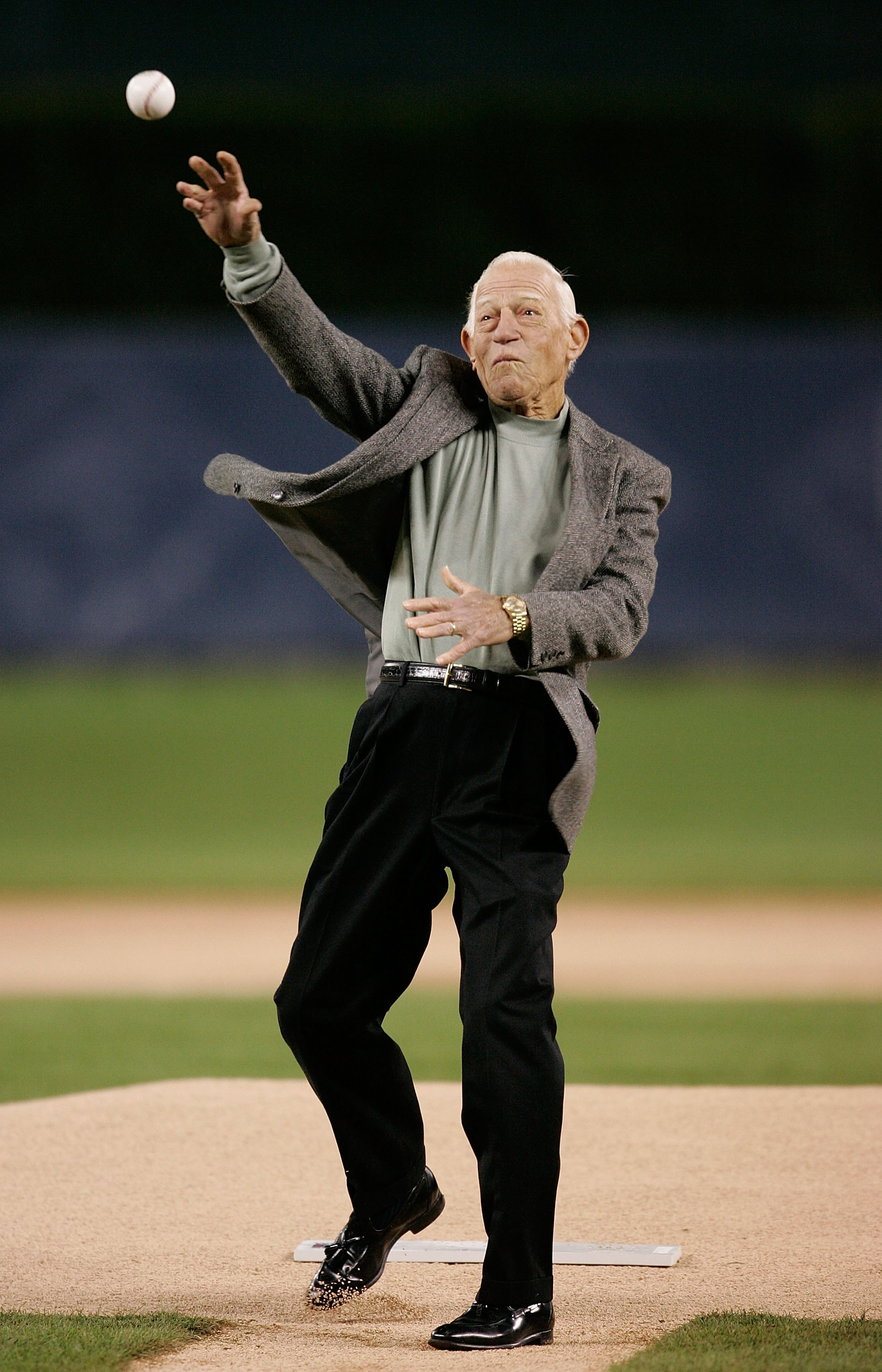 DETROIT - OCTOBER 22:  Former manager of the Detroit Tigers Sparky Anderson throws out the first pitch before the Tigers take on the St. Louis Cardinals during Game Two of 2006 World Series October 22, 2006 at Comerica Park in Detroit, Michigan.  (Photo b