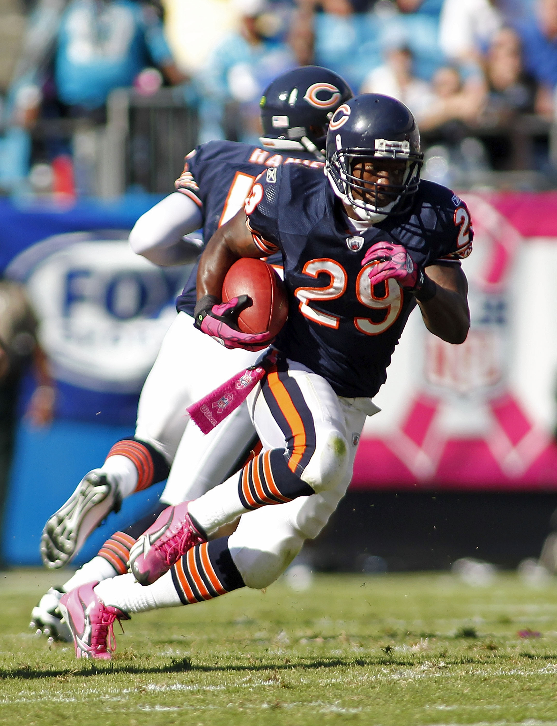 CHARLOTTE, NC - OCTOBER 10: Running back Chester Taylor #29 of the Chicago Bears runs with the ball against the Carolina Panthers at Bank of America Stadium on October 10, 2010 in Charlotte, North Carolina. (Photo by Geoff Burke/Getty Images)