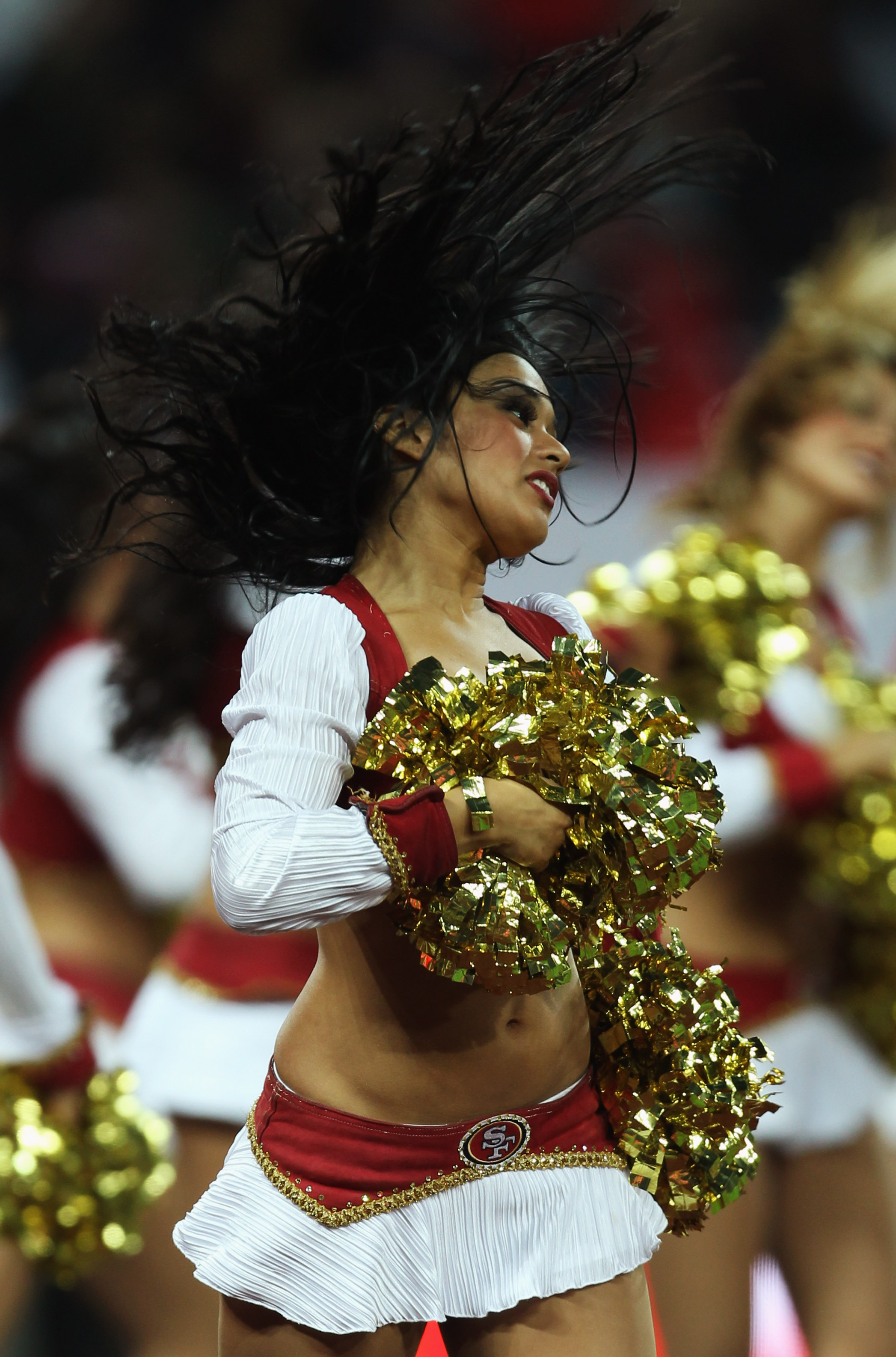 LONDON, ENGLAND - OCTOBER 31:  San Francisco 49ers cheerleaders entertain the crowd prior to the NFL International Series match between Denver Broncos and San Francisco 49ers at Wembley Stadium on October 31, 2010 in London, England. This is the fourth oc