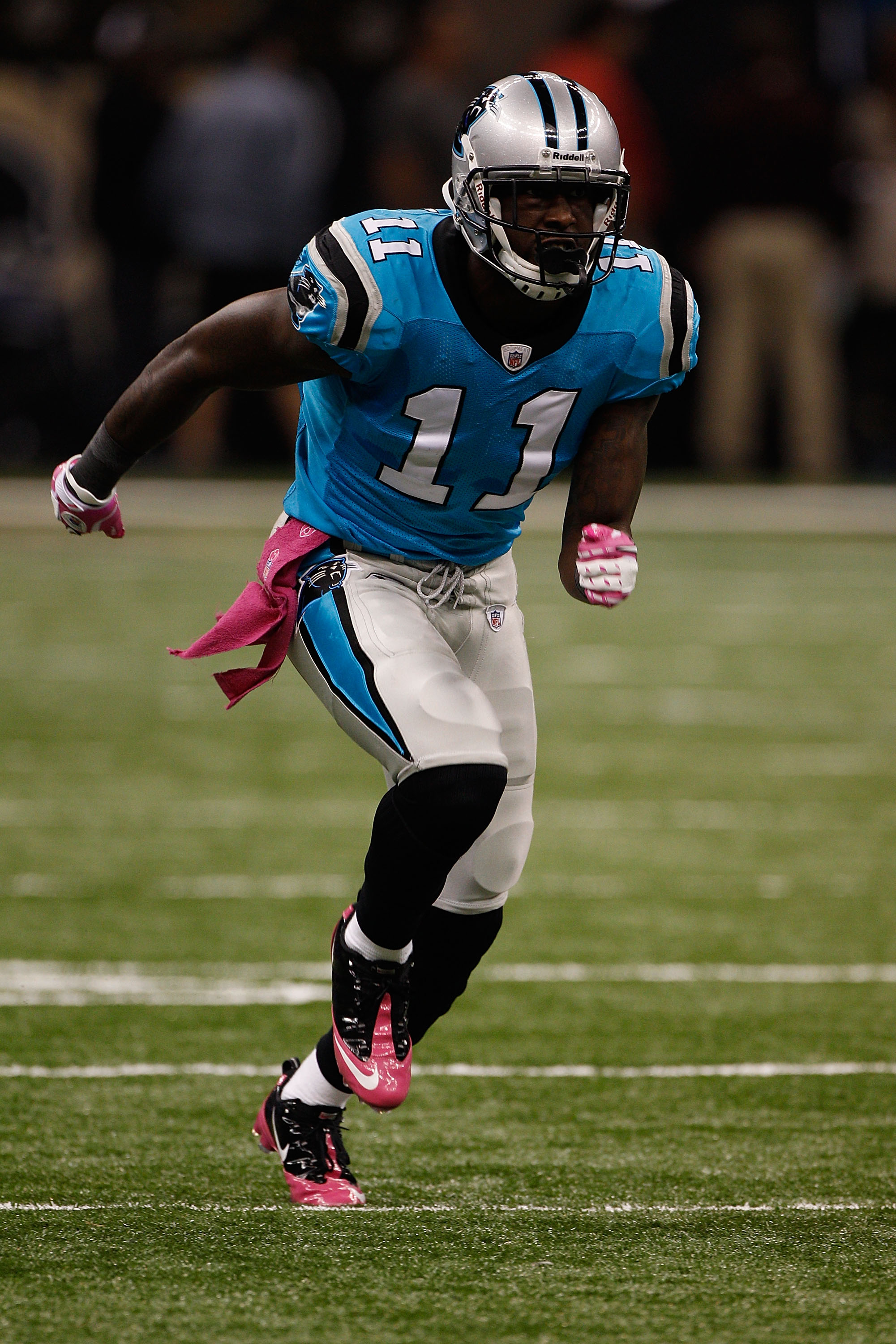NEW ORLEANS - OCTOBER 03:  Brandon LaFell #11 of the Carolina Panthers in action during the game against the New Orleans Saints at the Louisiana Superdome on October 3, 2010 in New Orleans, Louisiana.  (Photo by Chris Graythen/Getty Images)
