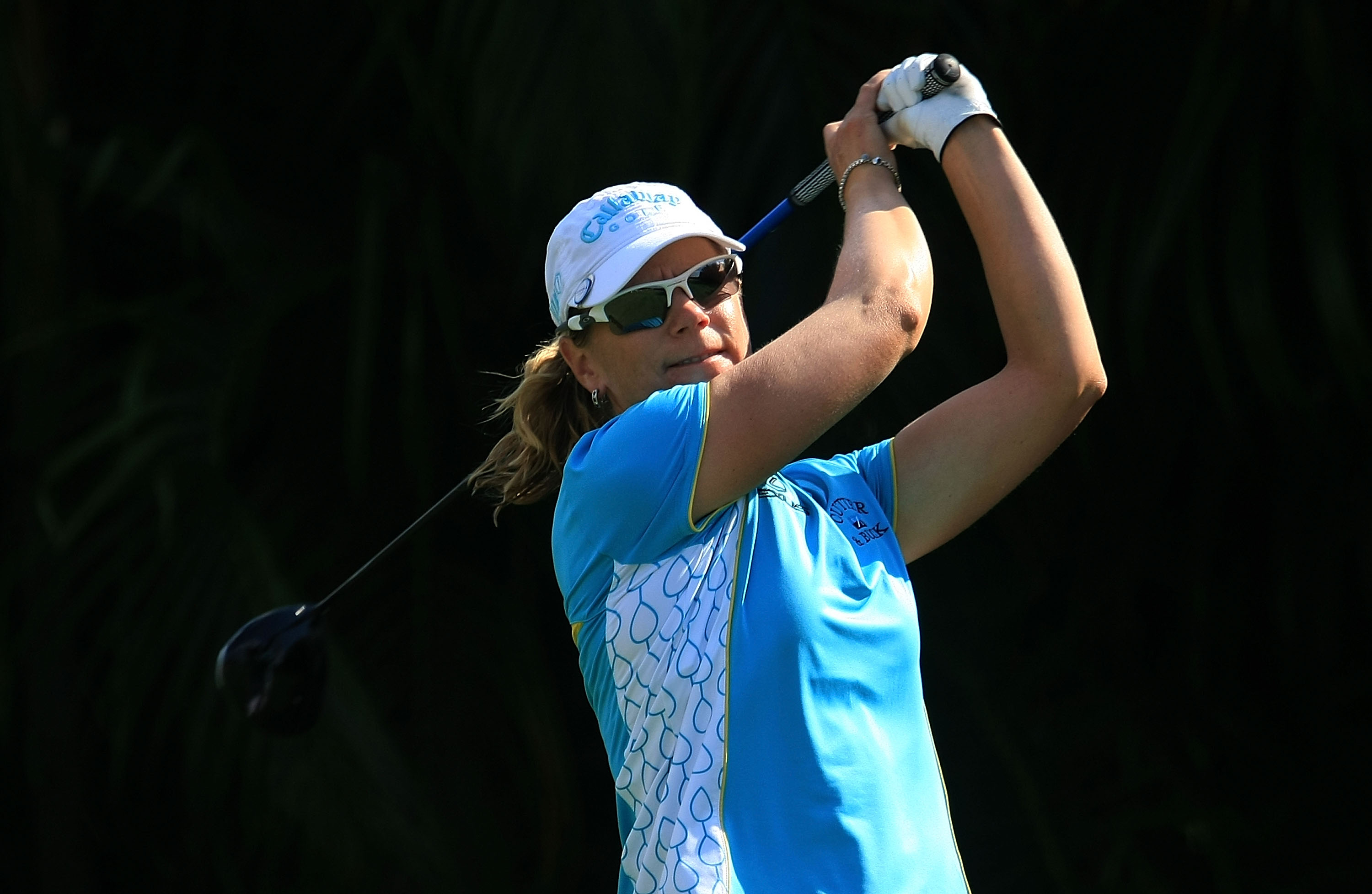 WEST PALM BEACH, FL - NOVEMBER 21:  Annika Sorenstam of Sweden hits her tee shot on the ninth hole during the second round of the ADT Championship at the Trump International Golf Club on November 21, 2008 in West Palm Beach, Florida.  (Photo by Scott Hall