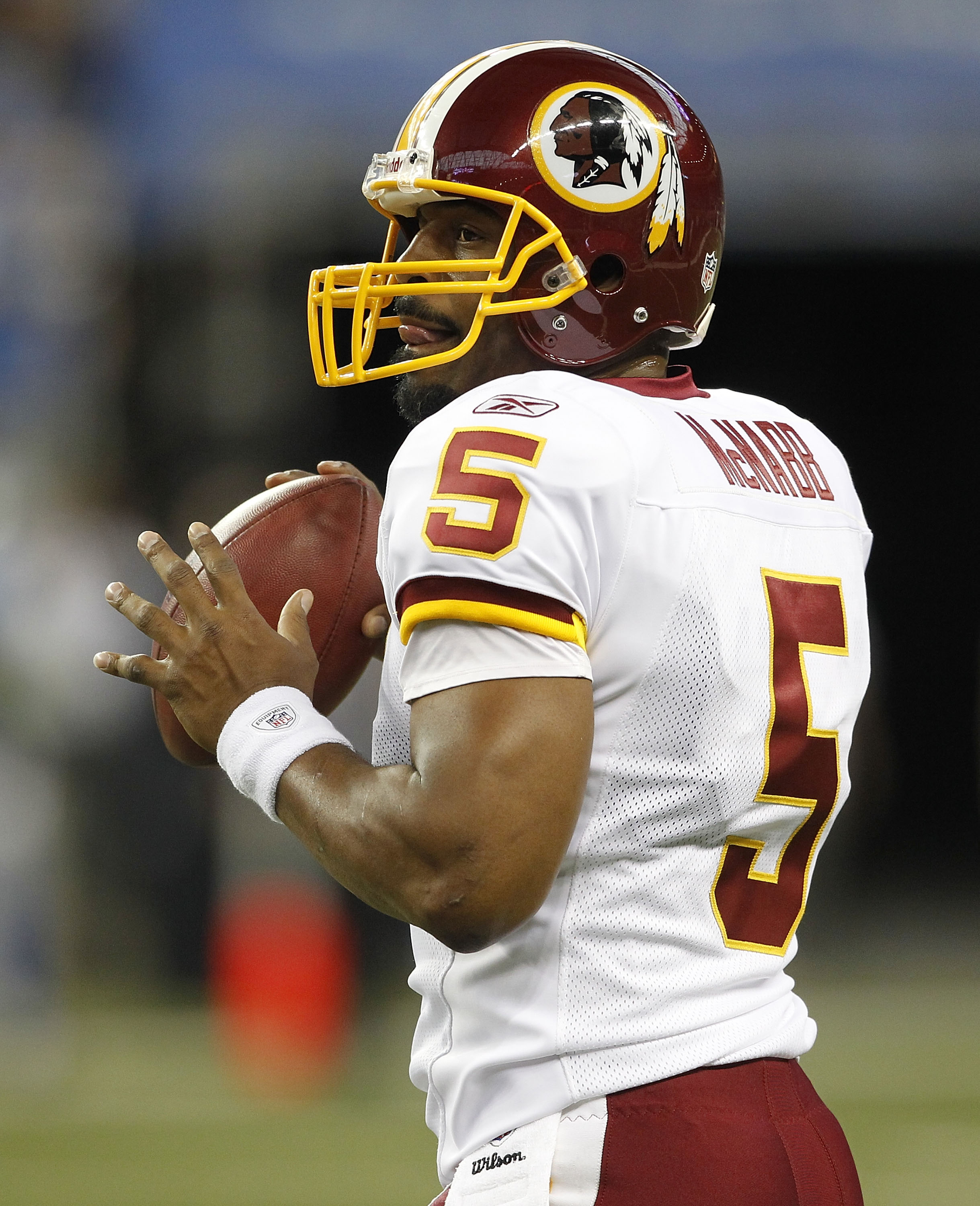 DETROIT - OCTOBER 31: Donovan McNabb #5 of the Washigton Redkins warms up prior to the start of the game against the Detroit Lions at Ford Field on October 31, 2010 in Detroit, Michigan. (Photo by Leon Halip/Getty Images)