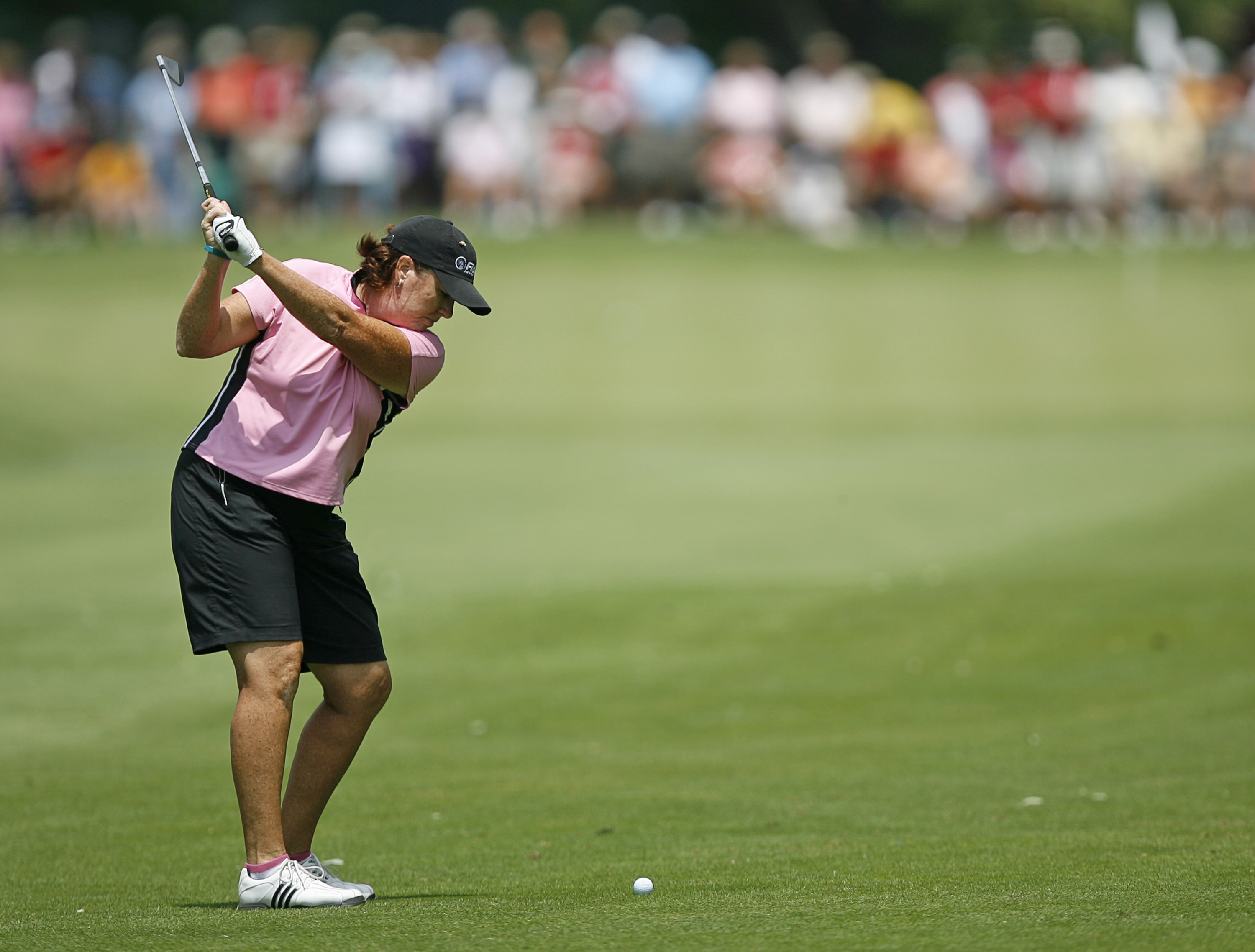 SYLVANIA, OH - JULY 14: Meg Mallon hits her second shot on the 4th hole during the third round of the Jamie Farr Owens Corning Classic on July 14, 2007 in Sylvania, Ohio. (Photo by Hunter Martin/Getty Images)