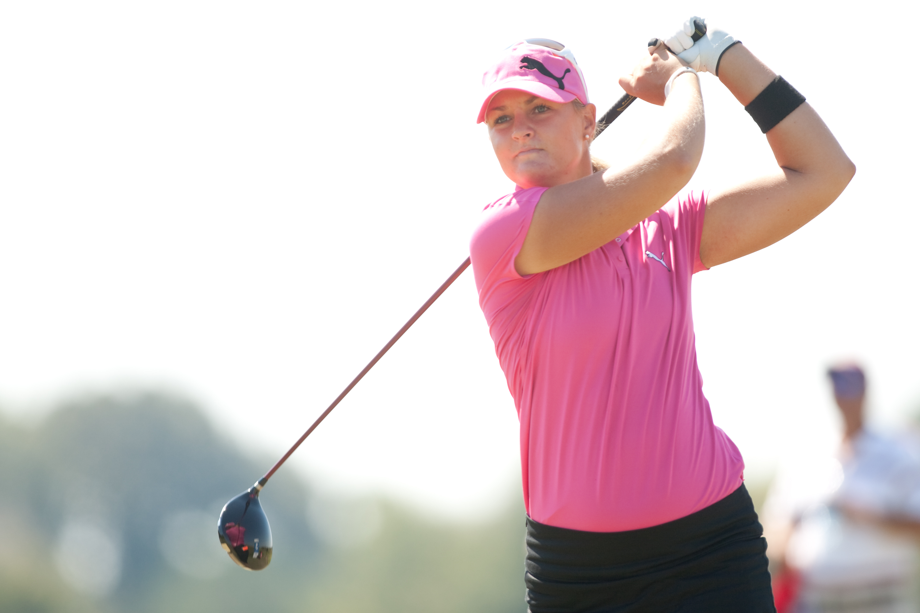 PRATTVILLE, AL - OCTOBER 9: Anna Nordqvist of Sweden follows through on a tee shot during the third round of the Navistar LPGA Classic at the Senator Course at the Robert Trent Jones Golf Trail on October 9, 2010 in Prattville, Alabama. (Photo by Darren C