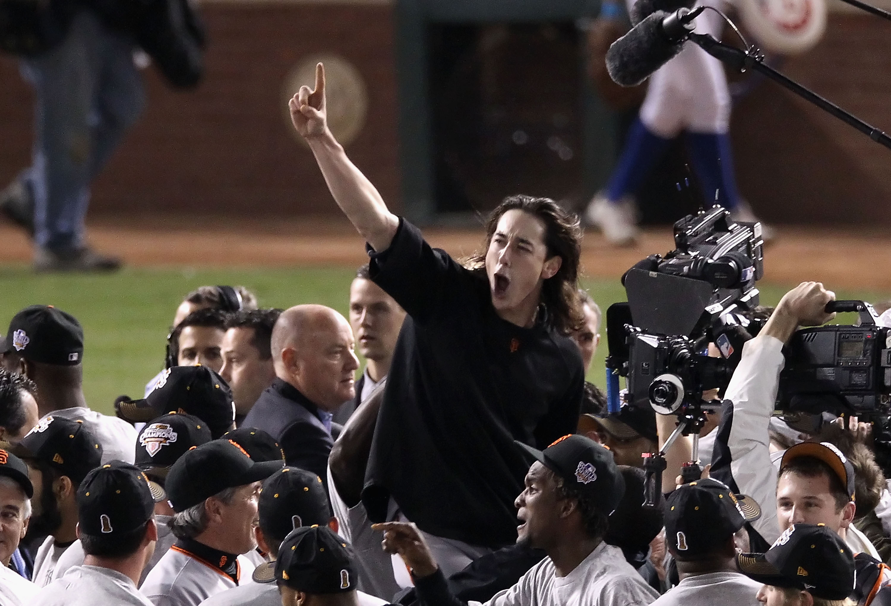 ARLINGTON, TX - NOVEMBER 01:  Pitcher Tim Lincecum #55 of the San Francisco Giants and teammates celebrate defeating the Texas Rangers 3-1 to win the 2010 MLB World Series at Rangers Ballpark in Arlington on November 1, 2010 in Arlington, Texas.  (Photo b