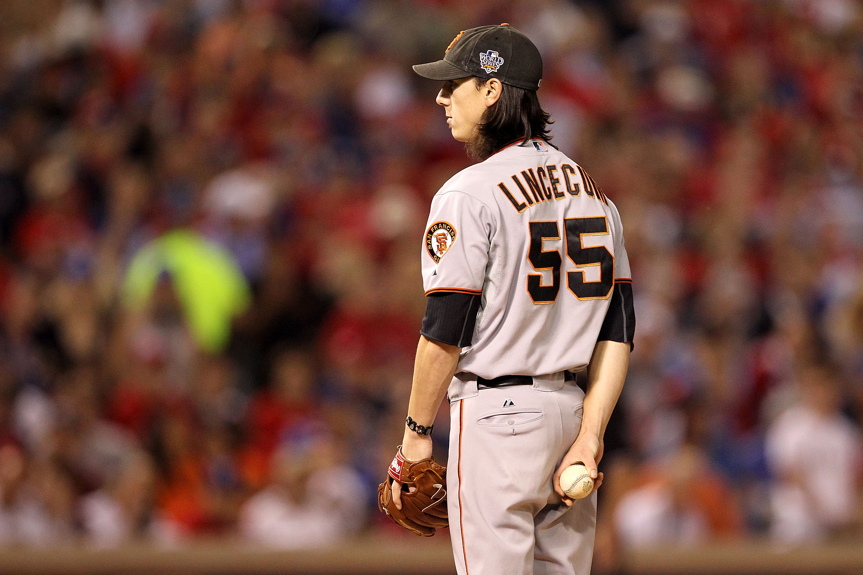 ARLINGTON, TX - NOVEMBER 01:  Tim Lincecum #55 of the San Francisco Giants gets set to throw a pitch against the Texas Rangers in Game Five of the 2010 MLB World Series at Rangers Ballpark in Arlington on November 1, 2010 in Arlington, Texas. The Giants w