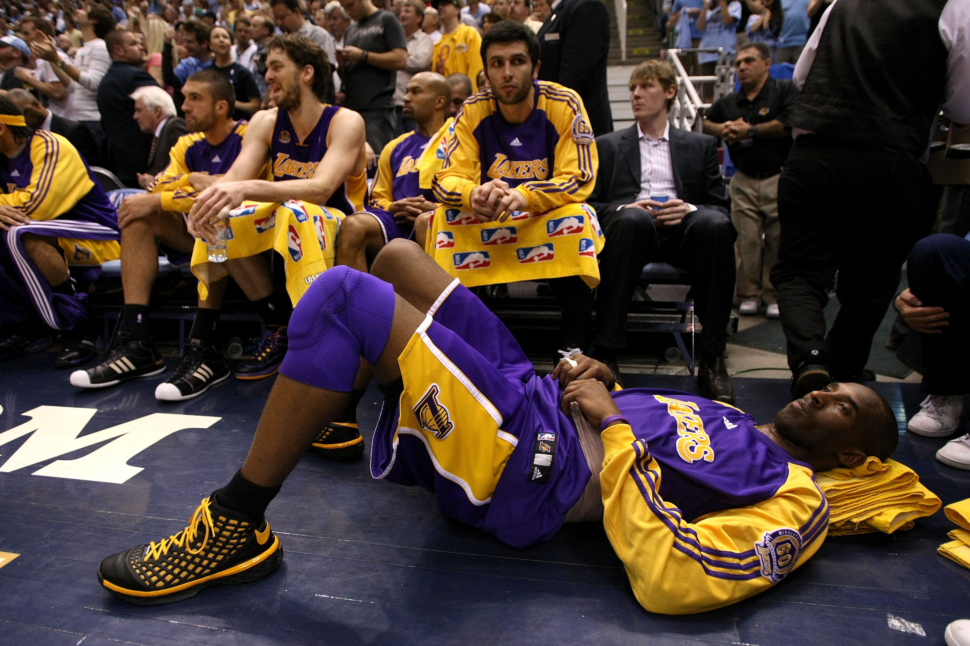 SALT LAKE CITY - MAY 11:  Kobe Bryant #24 of the Los Angeles Lakers lays on the floor with an injured back against the Utah Jazz in Game Four of the Western Conference Semifinals during the 2008 NBA Playoffs on May 11, 2008 at Energy Solutions Arena in Sa