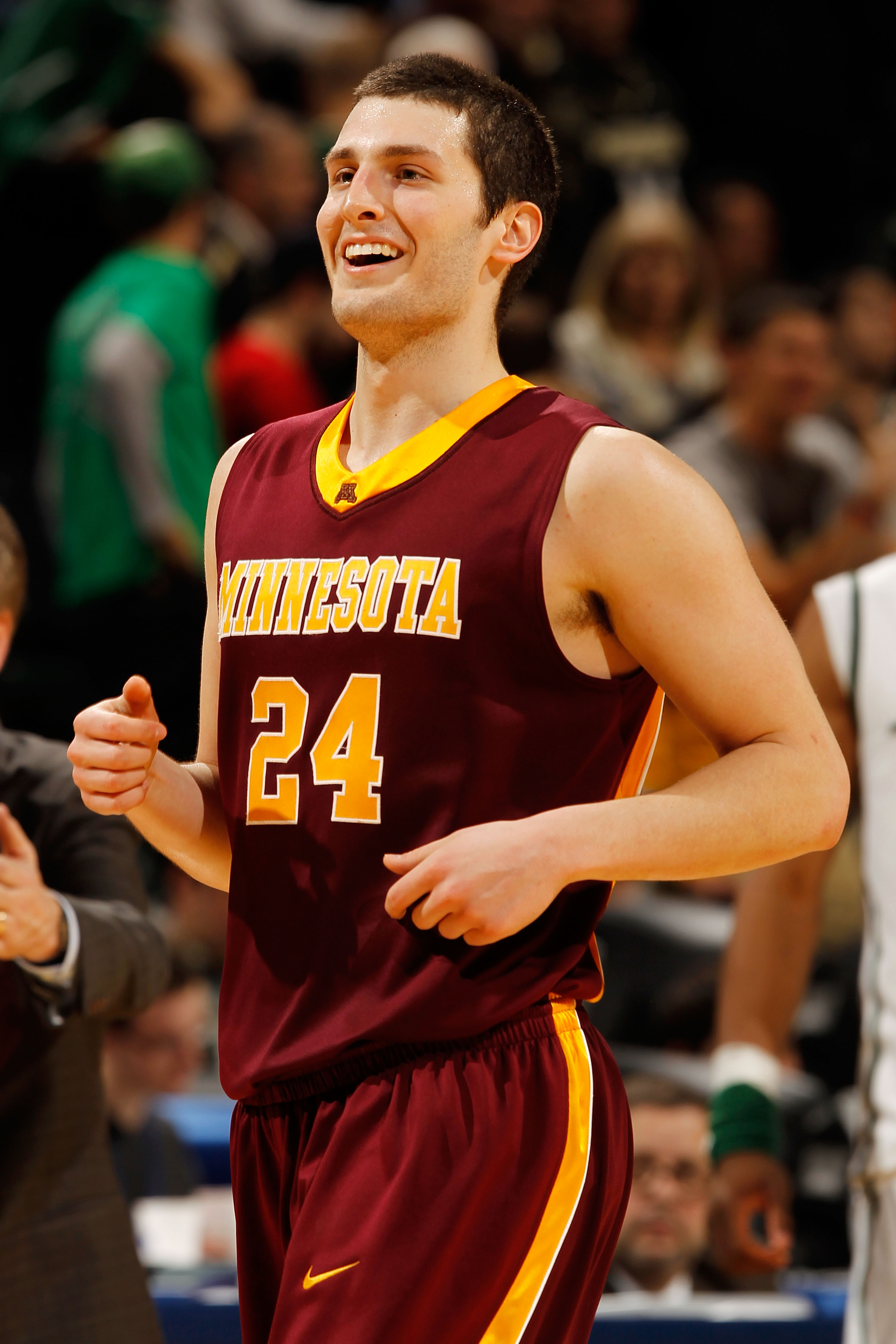 INDIANAPOLIS - MARCH 12:  Guard Blake Hoffarber #24 of the Minnesota Golden Gophers reacts after defeating the Michigan State Spartans 72-67 in overtime of the quarterfinals in the Big Ten Men's Basketball Tournament at Conseco Fieldhouse on March 12, 201