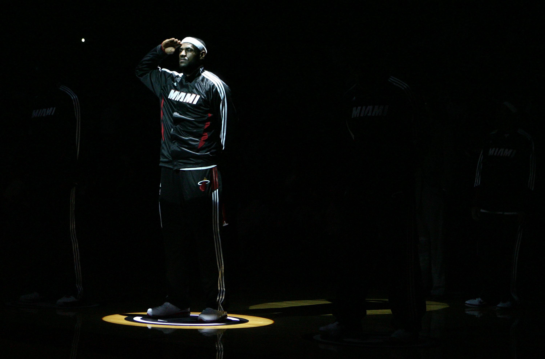 9d00b04e784 MIAMI - NOVEMBER 02: Forward LeBropn James #6 of the Miami Heat is  introduced
