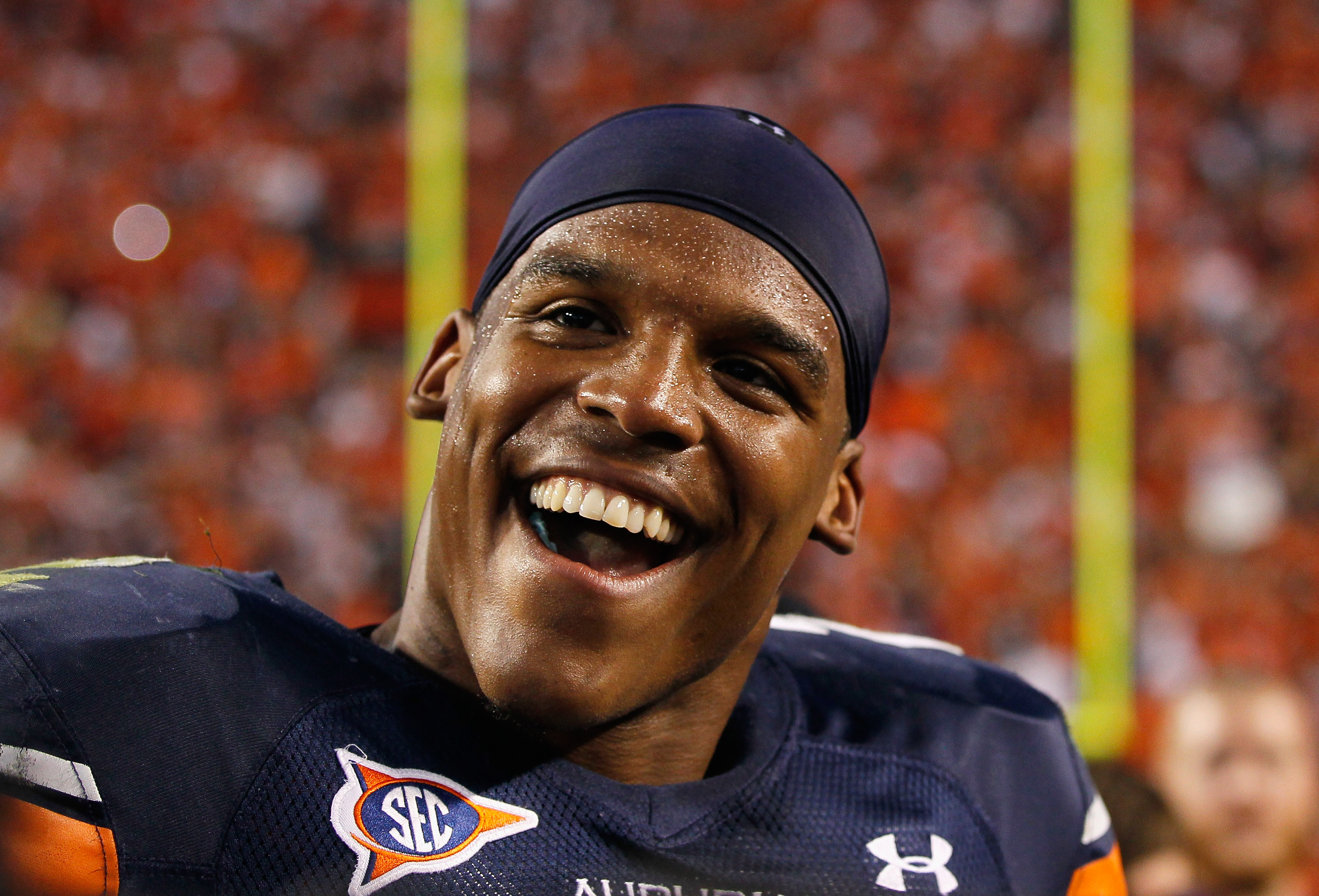 AUBURN, AL - OCTOBER 23:  Quarterback Cameron Newton #2 of the Auburn Tigers celebrates after their 24-17 over the LSU Tigers at Jordan-Hare Stadium on October 23, 2010 in Auburn, Alabama.  (Photo by Kevin C. Cox/Getty Images)