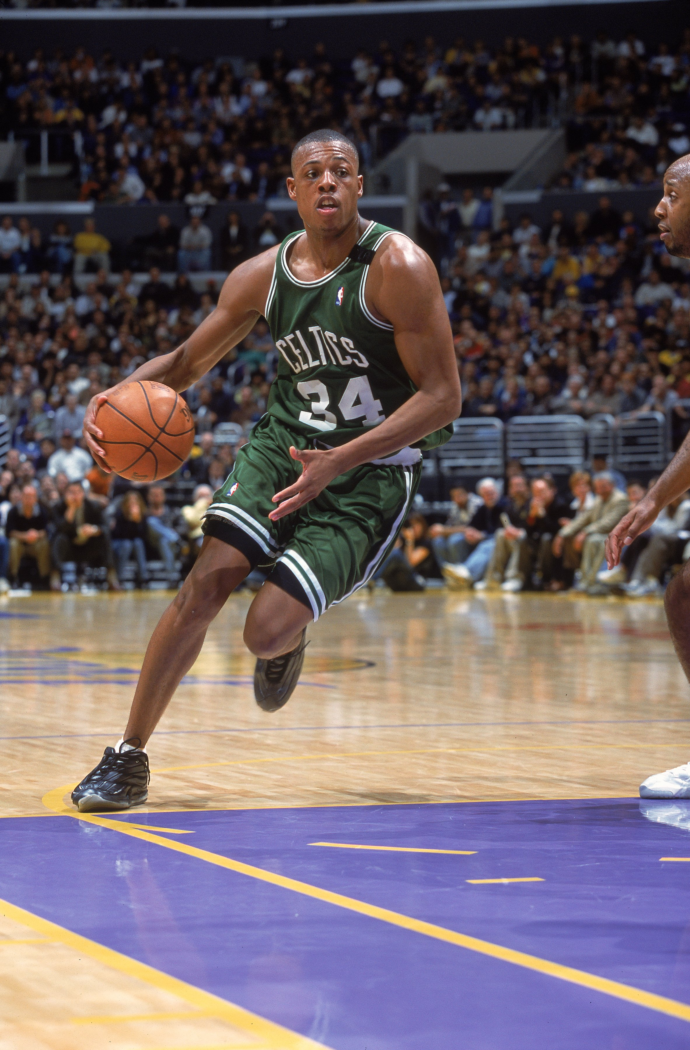 13 Mar 2001:  Paul Pierce #34 of the Boston Celtics takes the ball to the basket during the game against the Los Angeles Lakers at the Staples Center in Los Angeles, California. The Lakers defeated the Celtics 112-107. NOTE TO USER: It is expressly unders